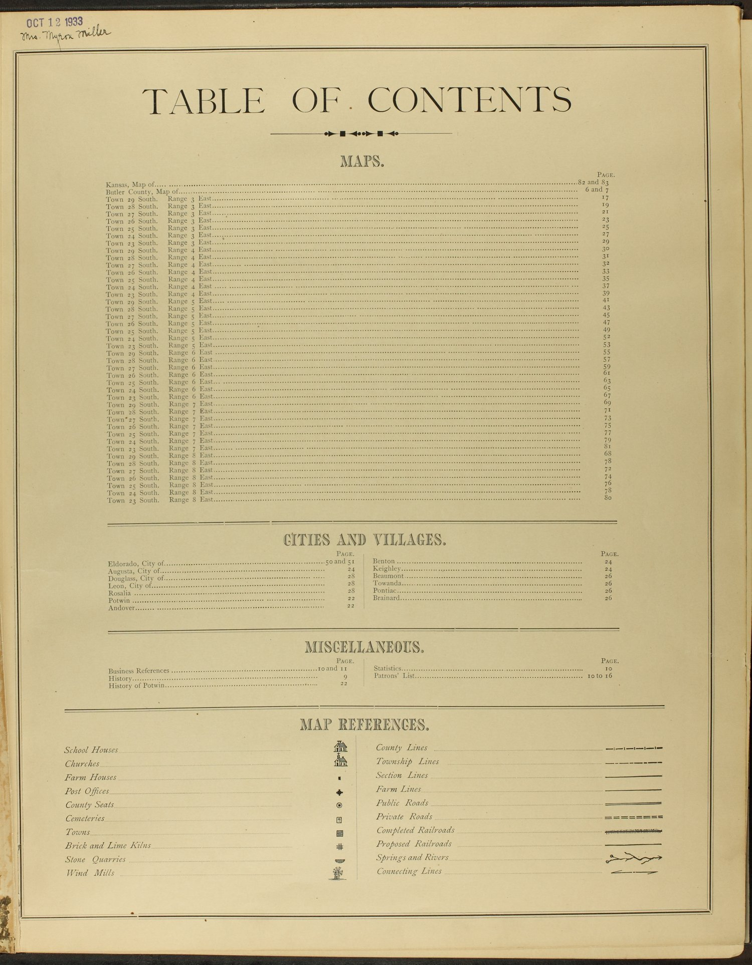 Historical atlas of Butler County, Kansas - Table of Contents