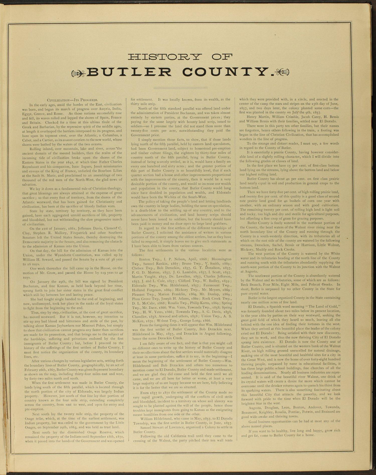 Historical atlas of Butler County, Kansas - 9