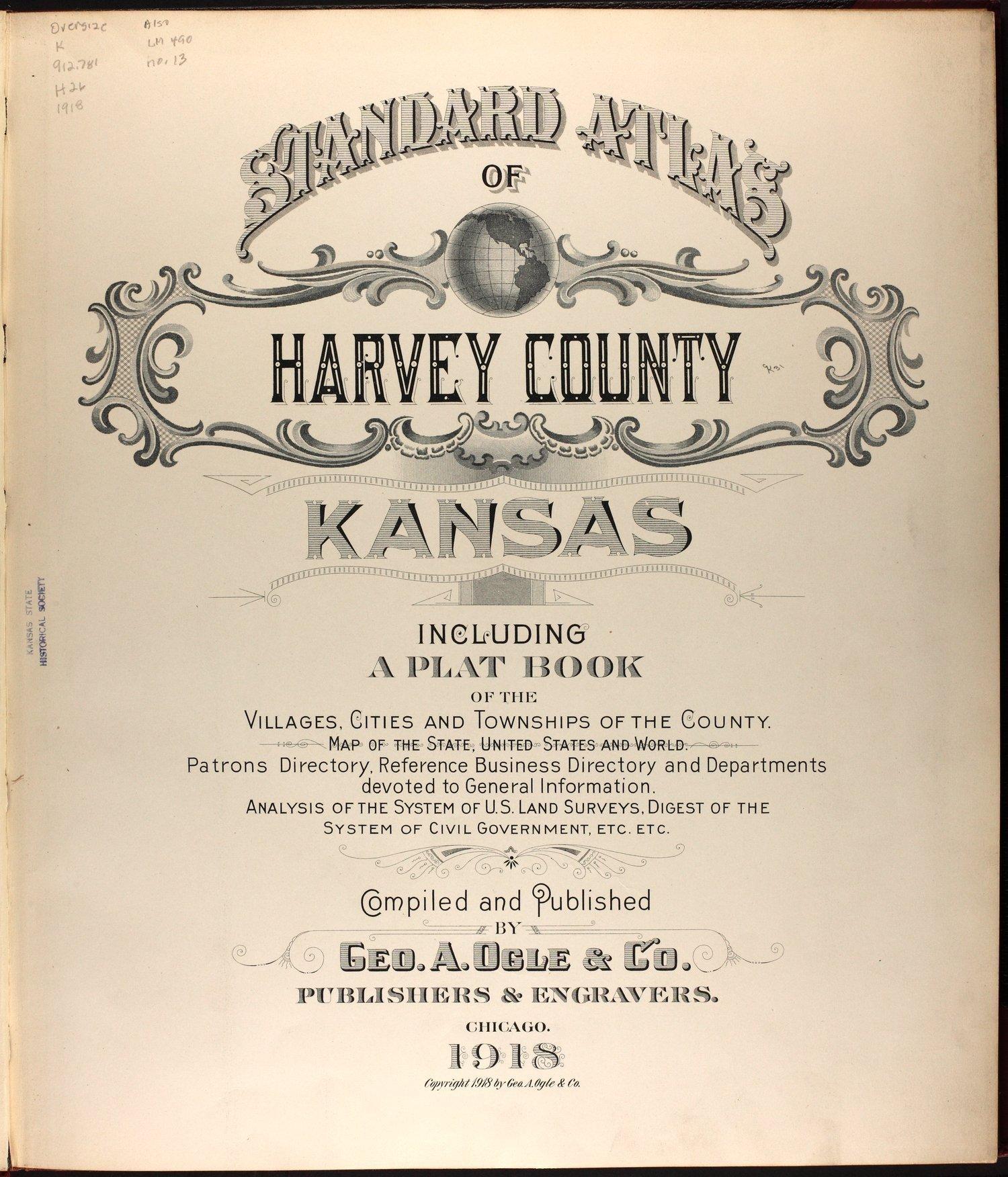 Standard atlas of Harvey County, Kansas - Title Page