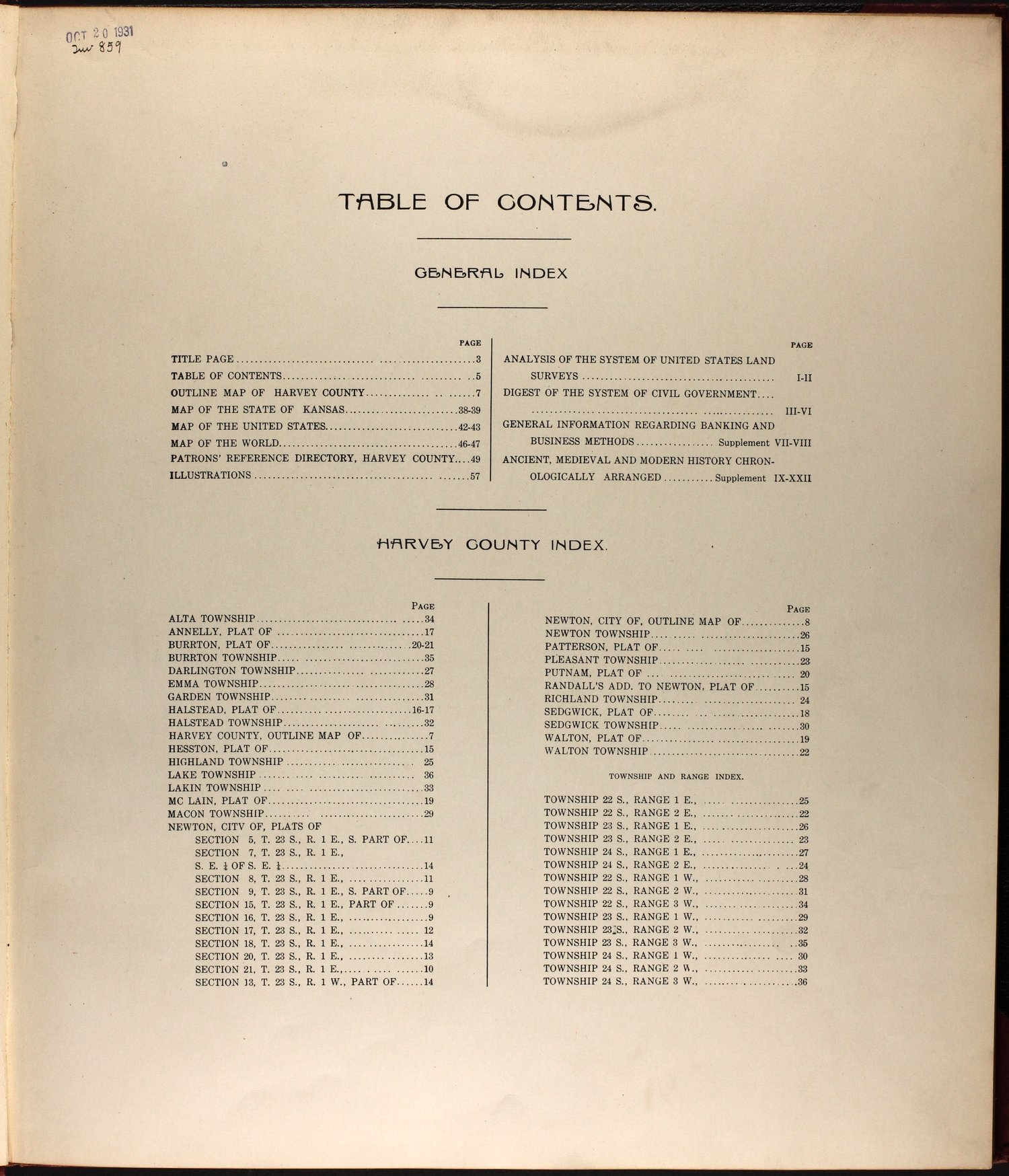 Standard atlas of Harvey County, Kansas - Table of Contents