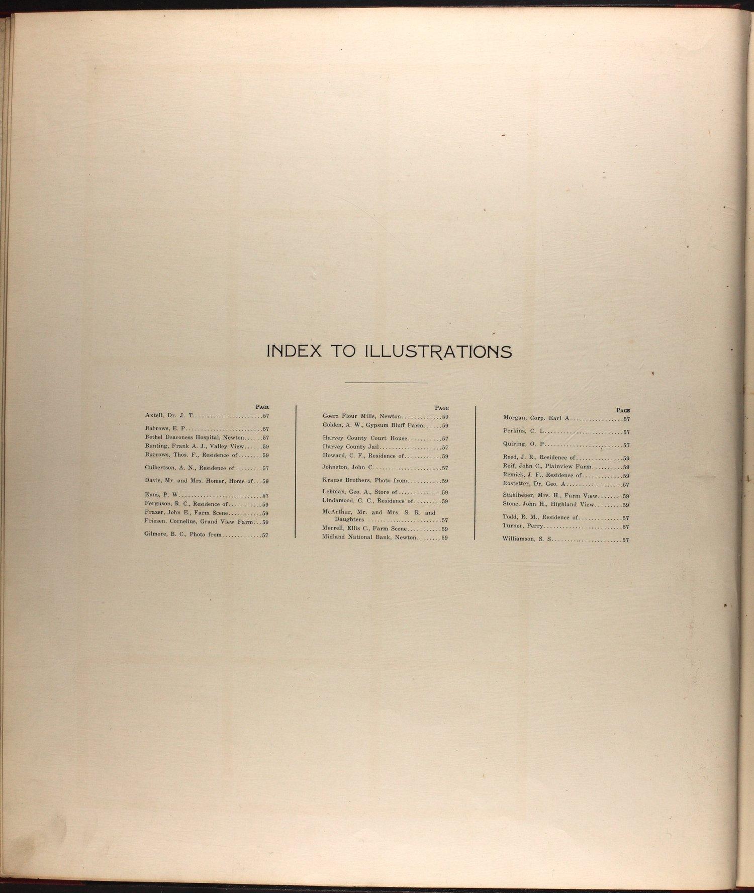 Standard atlas of Harvey County, Kansas - Index to Illustrations