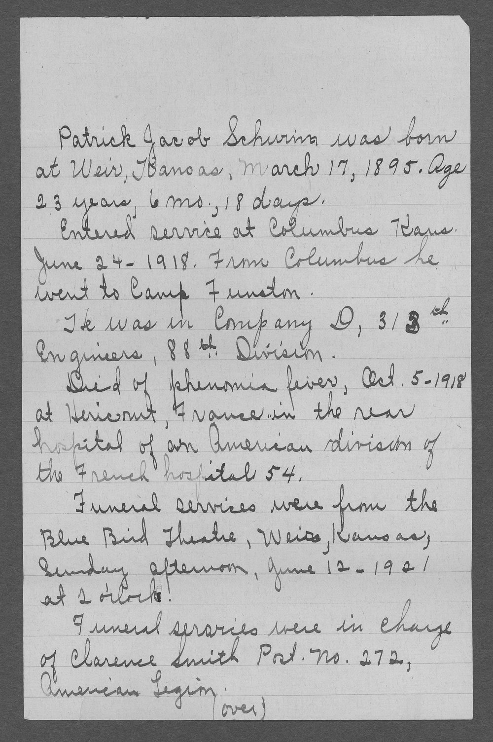Patrick Jacob Schwinn, World War I soldier - 3