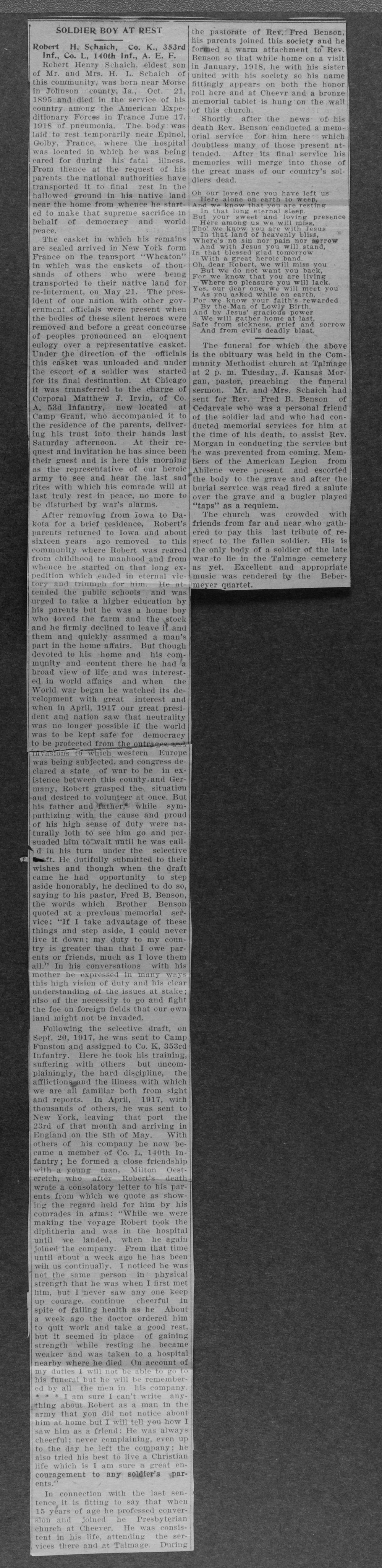 Robert Henry Schaich, World War I soldier - 6