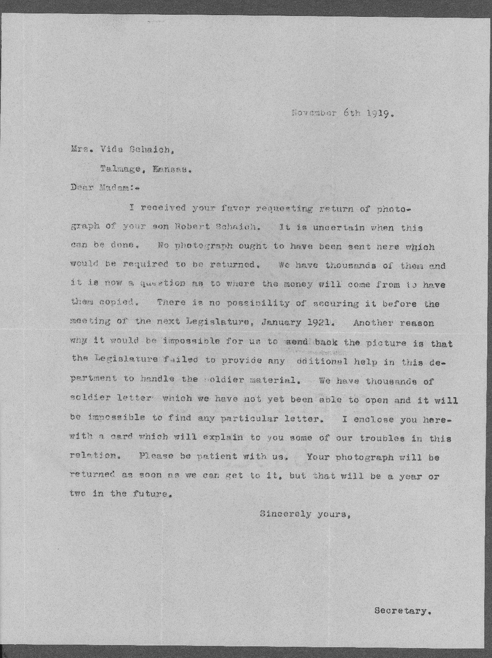 Robert Henry Schaich, World War I soldier - 11