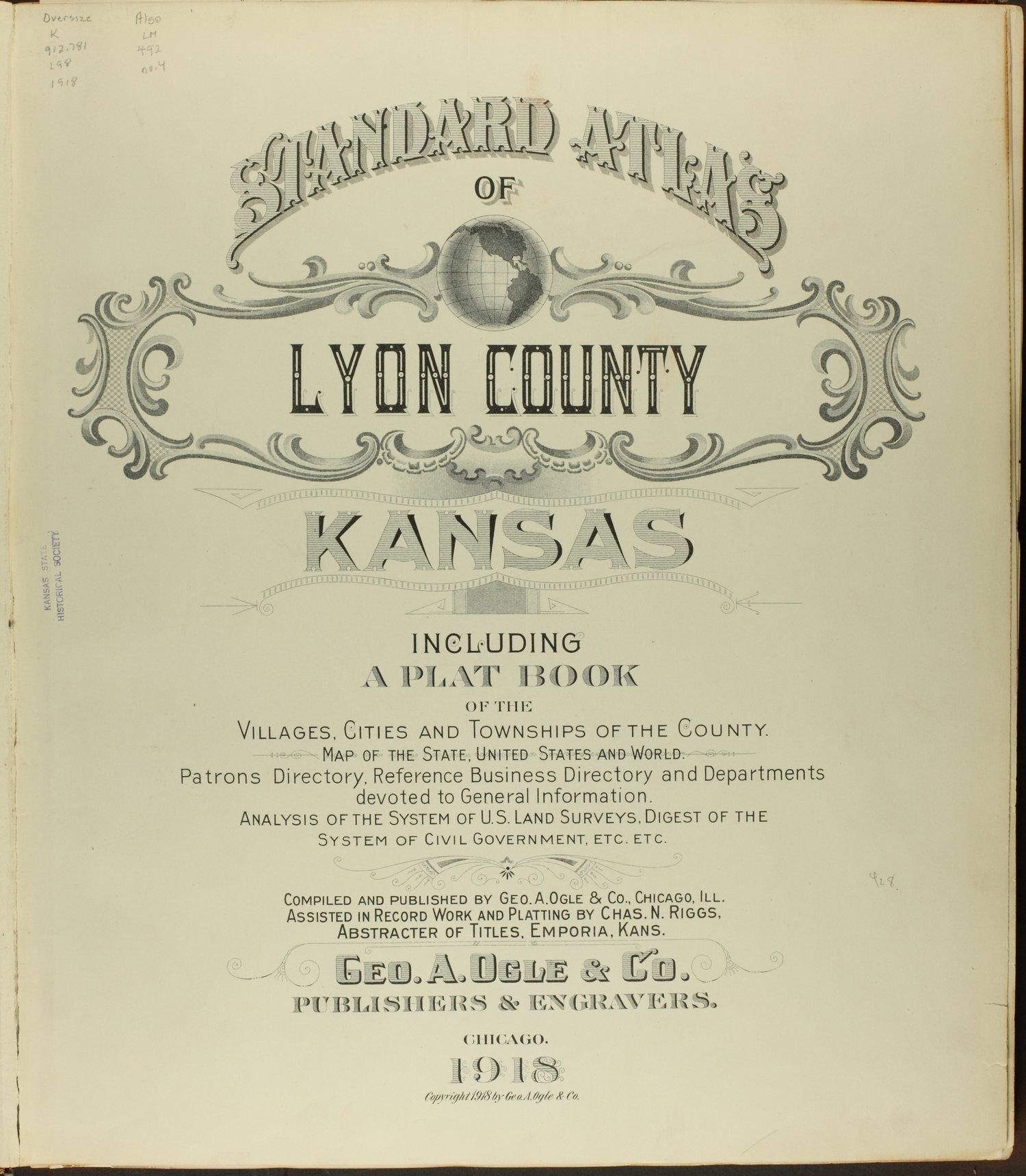 Standard atlas of Lyon County, Kansas - Title Page