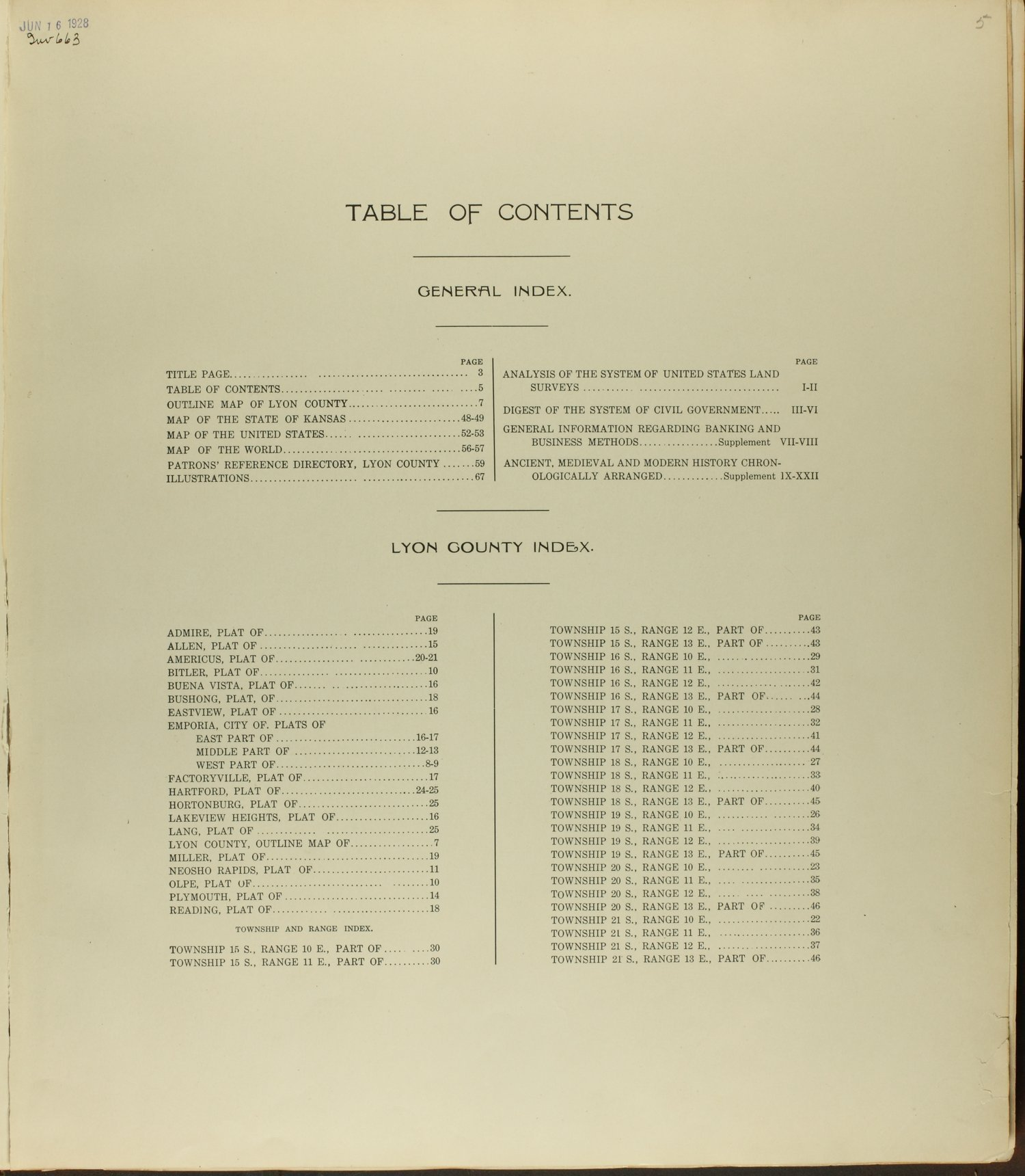 Standard atlas of Lyon County, Kansas - Table of Contents