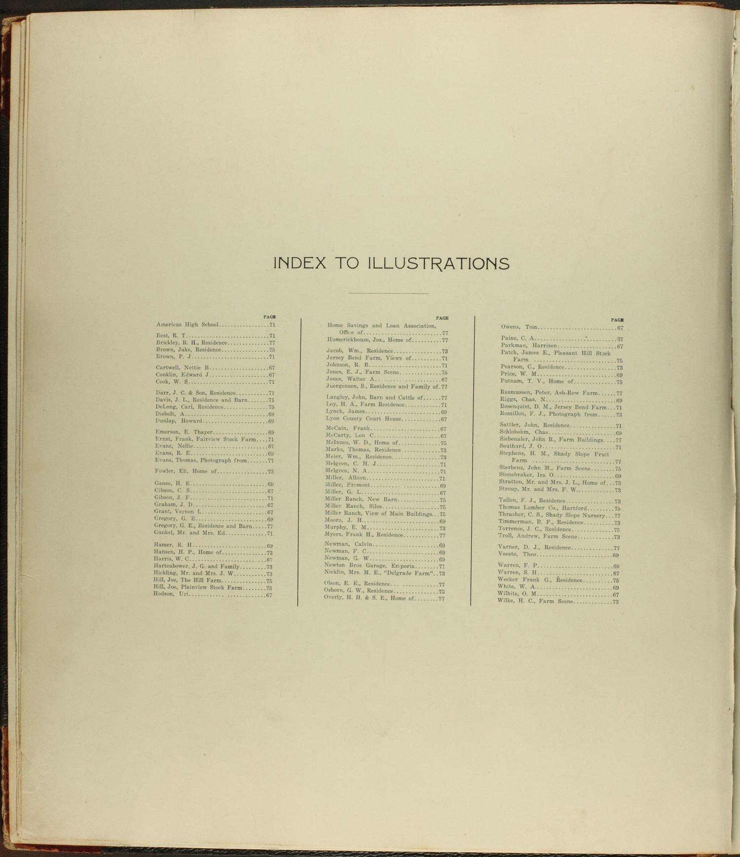 Standard atlas of Lyon County, Kansas - Index to Illustrations