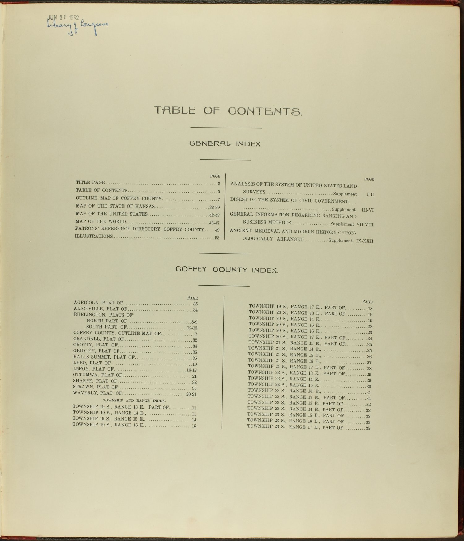 Standard atlas of Coffey County, Kansas - Table of Contents