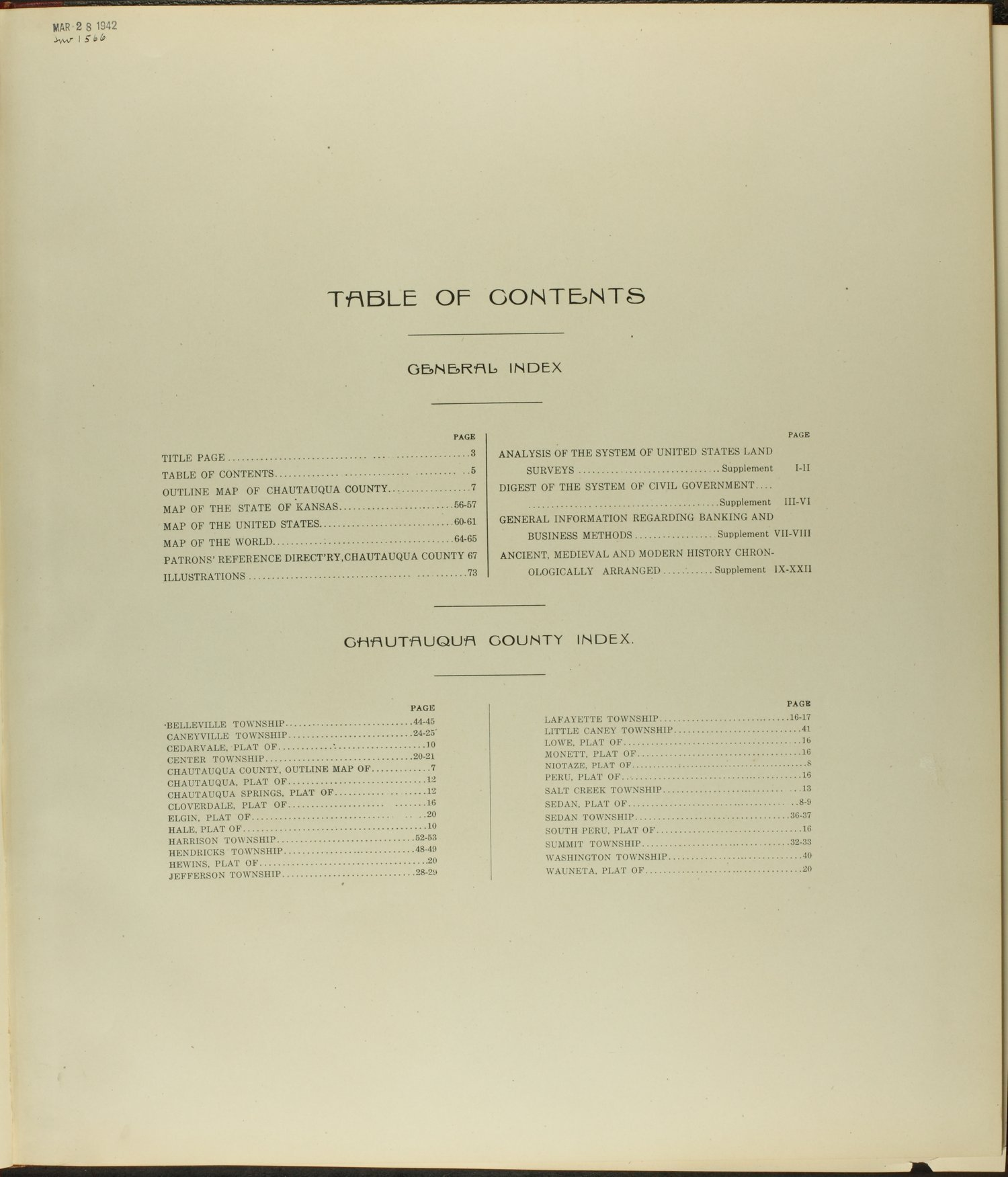 Standard atlas of Chautauqua County, Kansas - Table of Contents