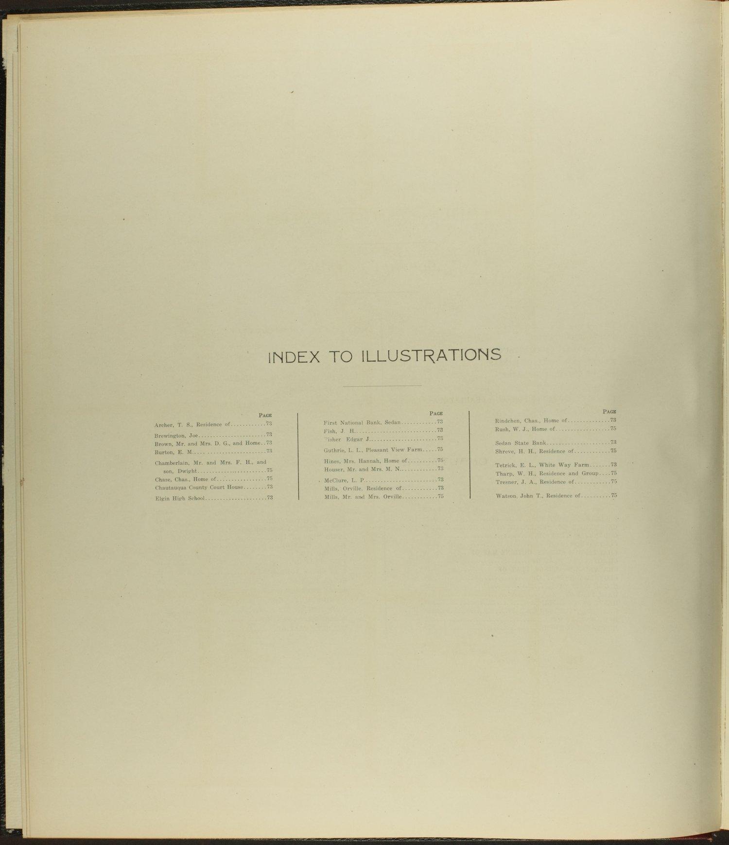 Standard atlas of Chautauqua County, Kansas - Index to Illustrations