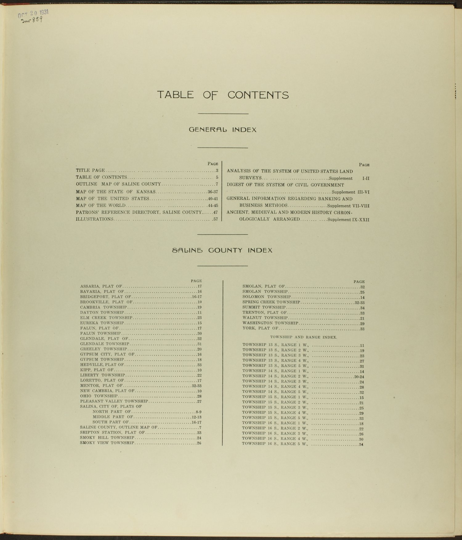 Standard atlas of Saline County, Kansas - Table of Contents