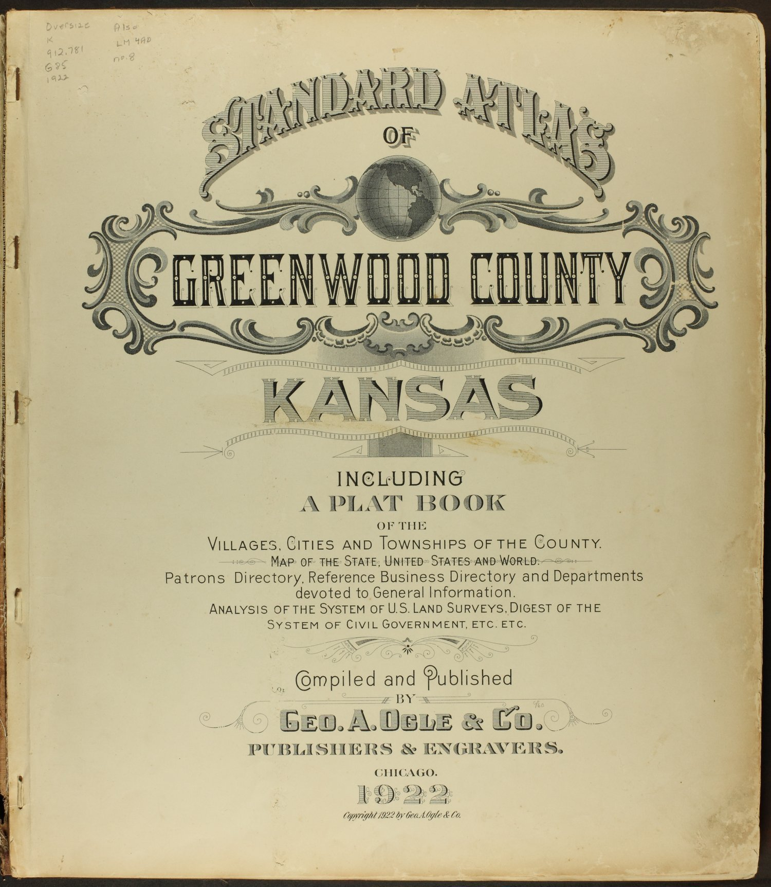 Standard atlas of Greenwood County, Kansas - Title Page