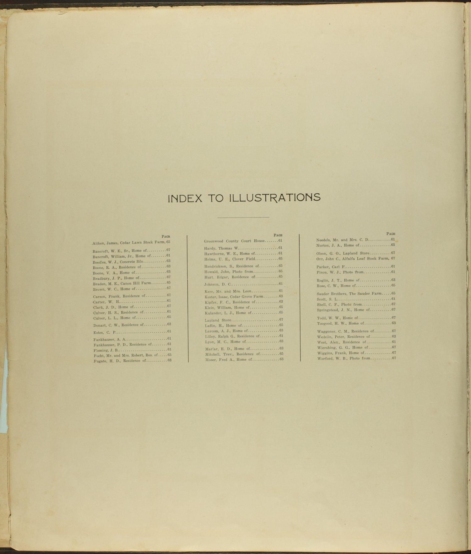 Standard atlas of Greenwood County, Kansas - Index to Illustrations