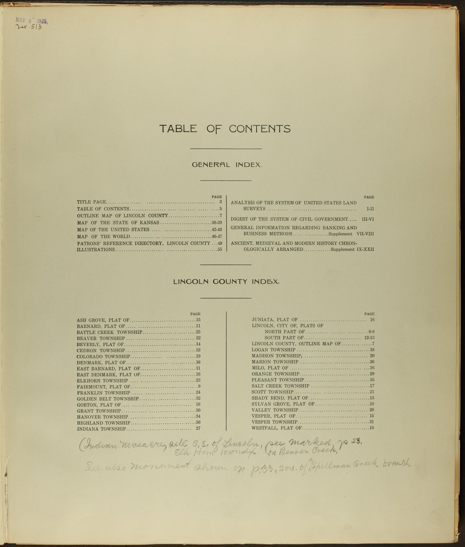 Standard atlas of Lincoln County, Kansas - Table of Contents