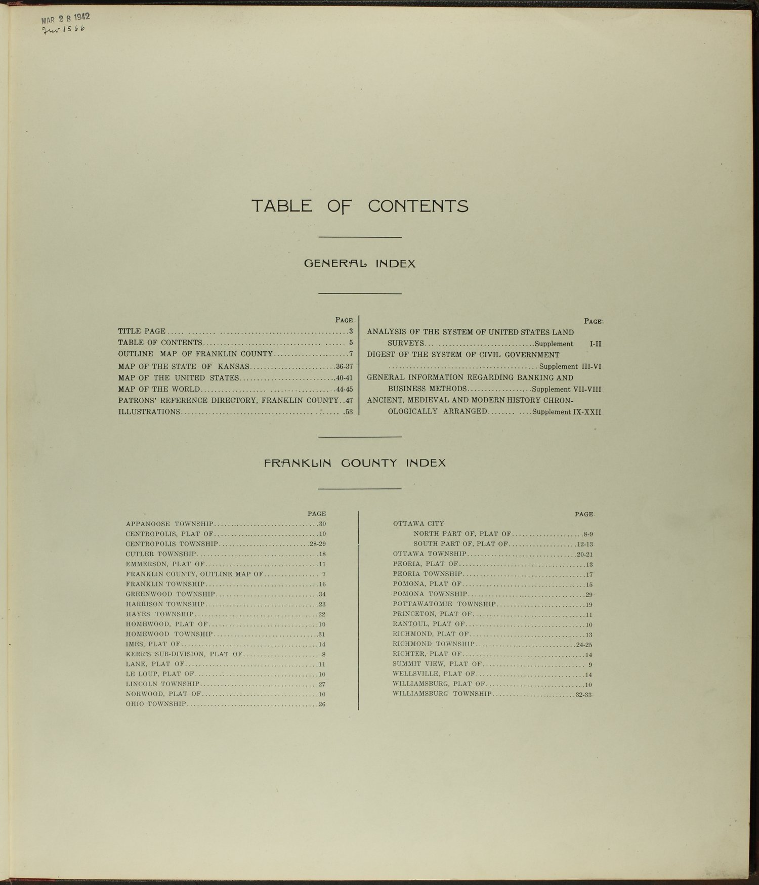 Standard atlas of Franklin County, Kansas - Table of Contents