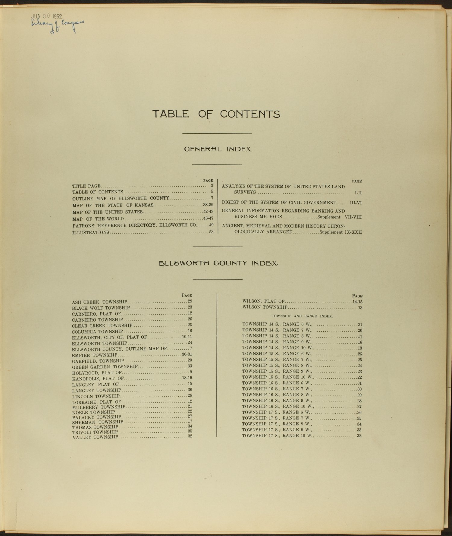 Standard atlas of Ellsworth County, Kansas - Table of Contents
