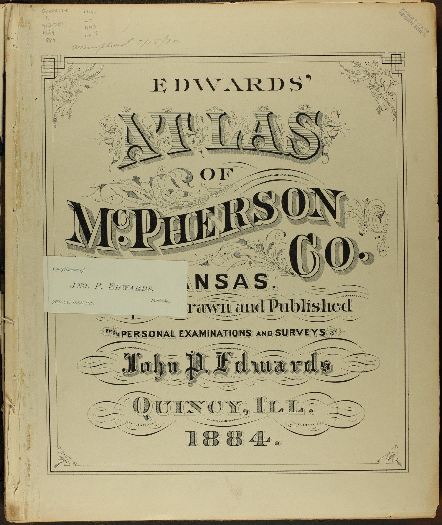 Edwards' atlas of McPherson County, Kansas - insert