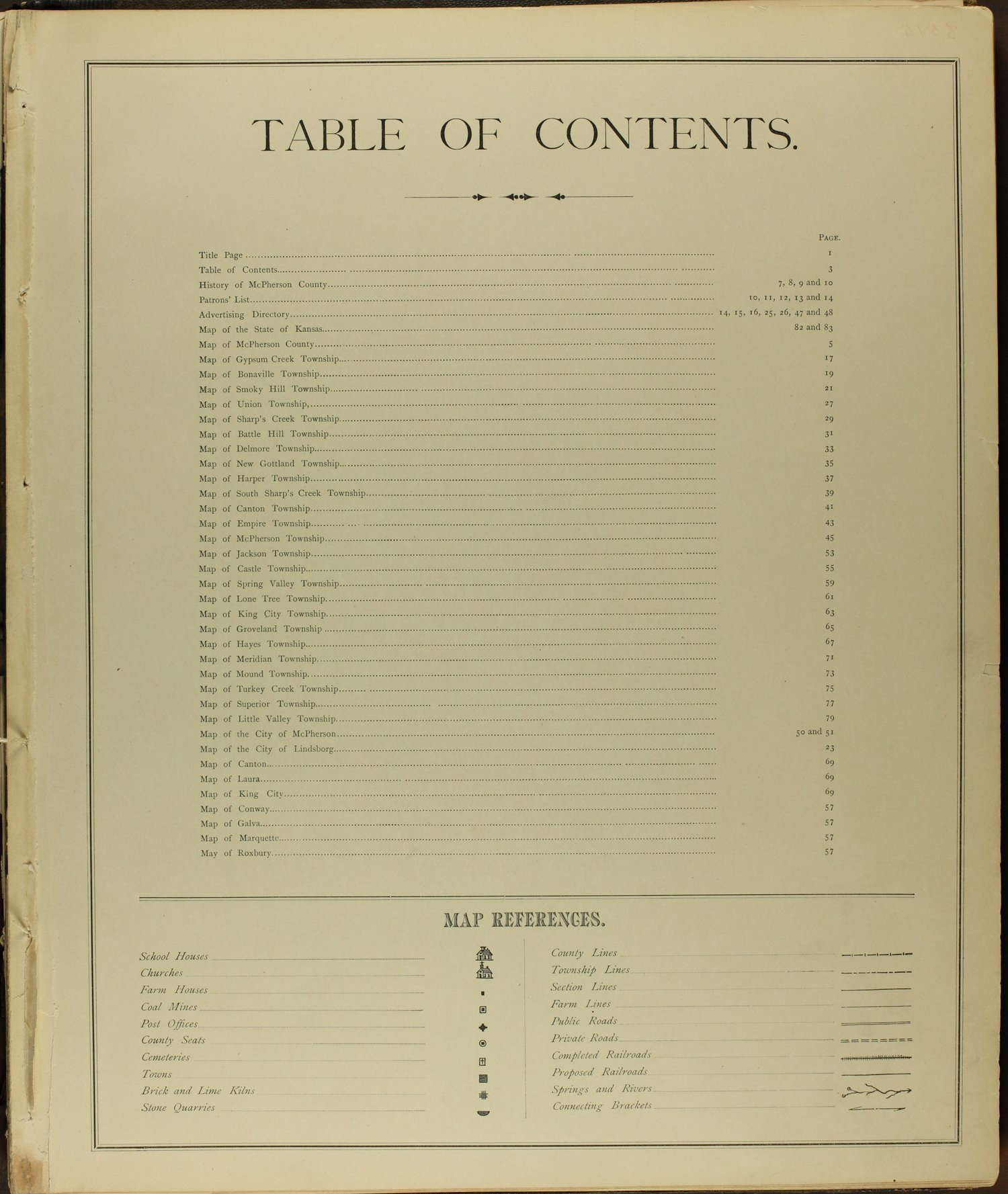 Edwards' atlas of McPherson County, Kansas - Table of Contents