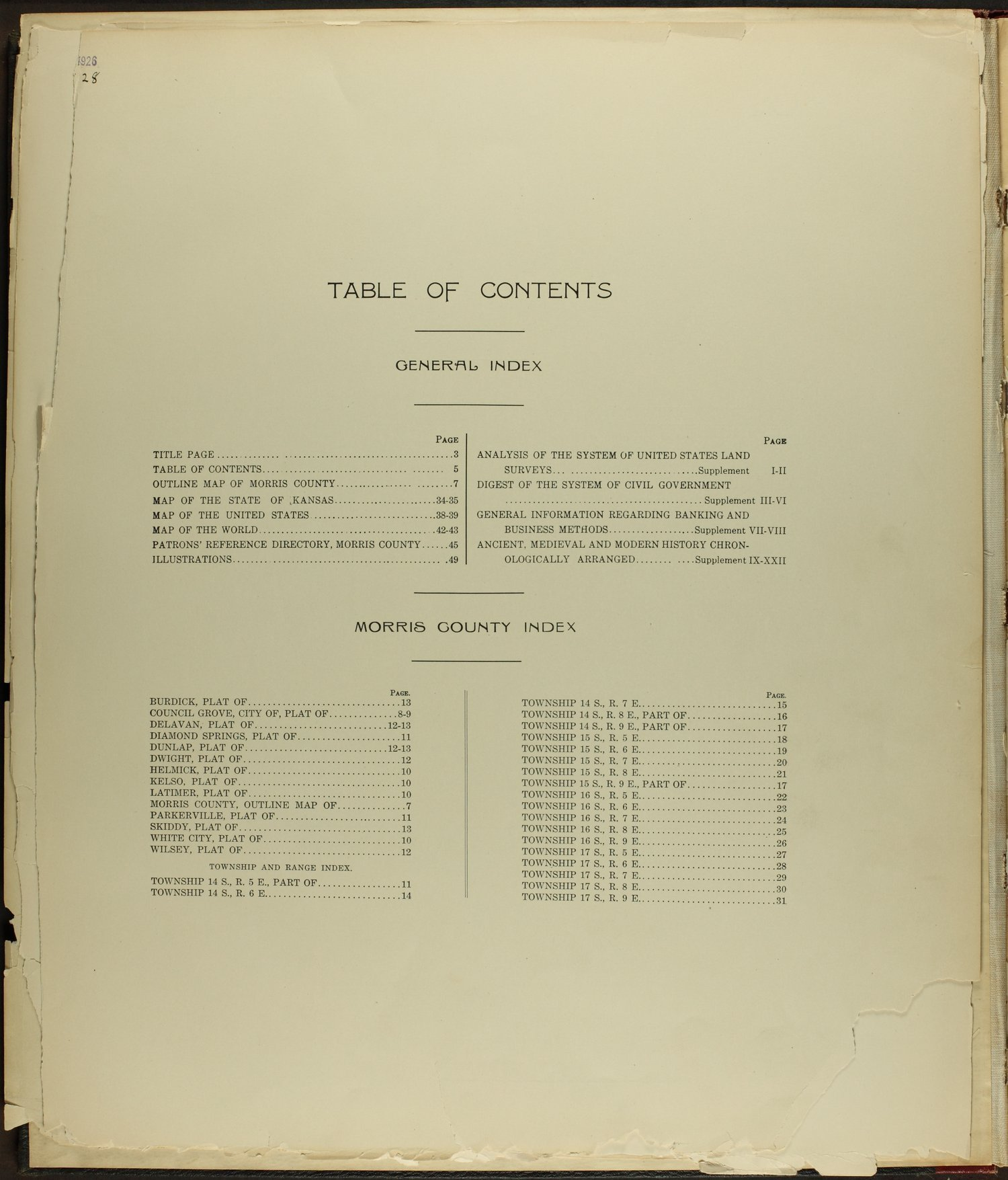 Standard atlas of Morris County, Kansas - Table of Contents