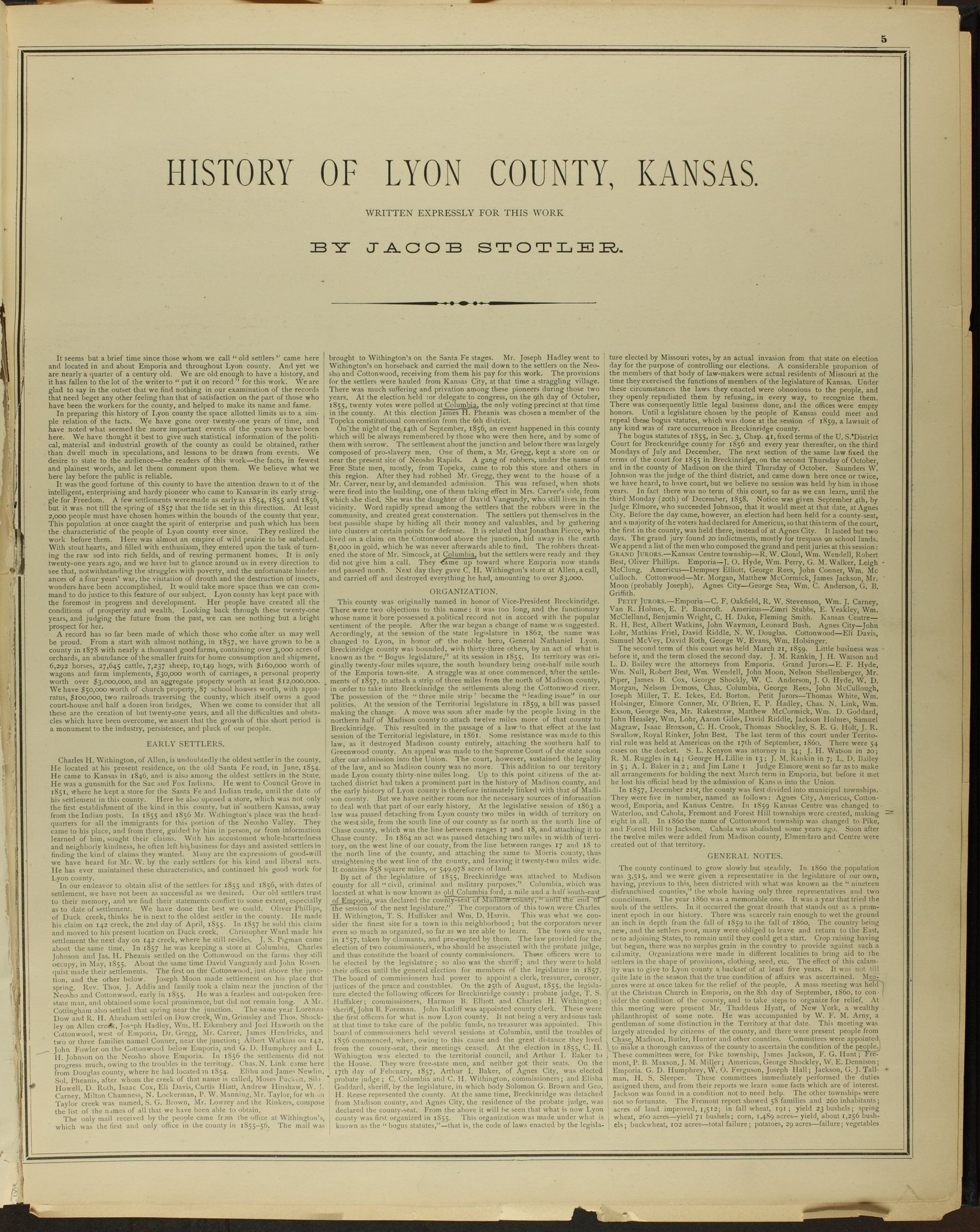 An illustrated historical atlas of Lyon county, Kansas - 5