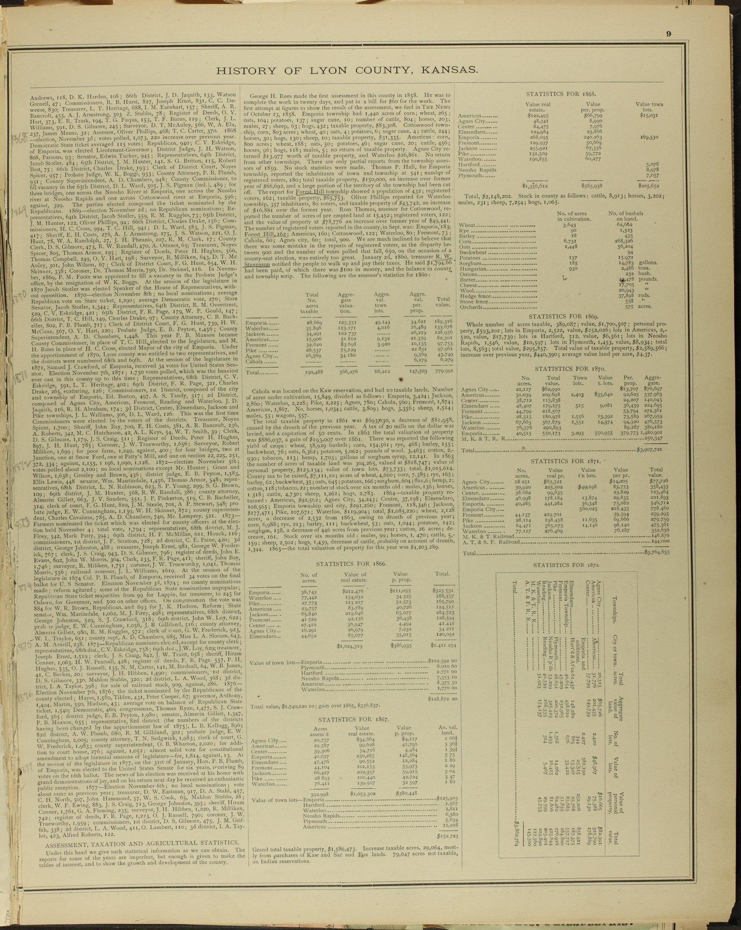 An illustrated historical atlas of Lyon county, Kansas - 9