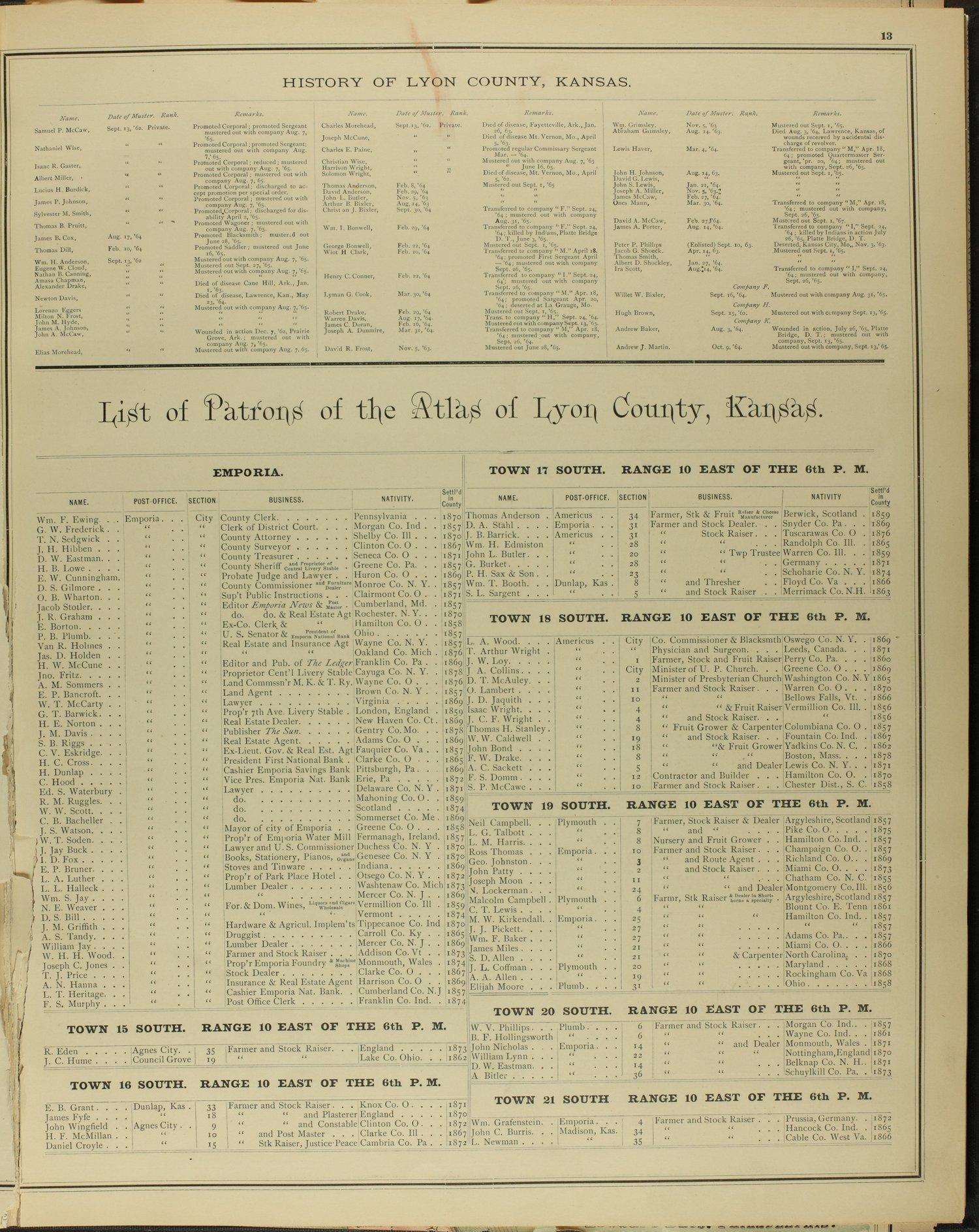 An illustrated historical atlas of Lyon county, Kansas - 13