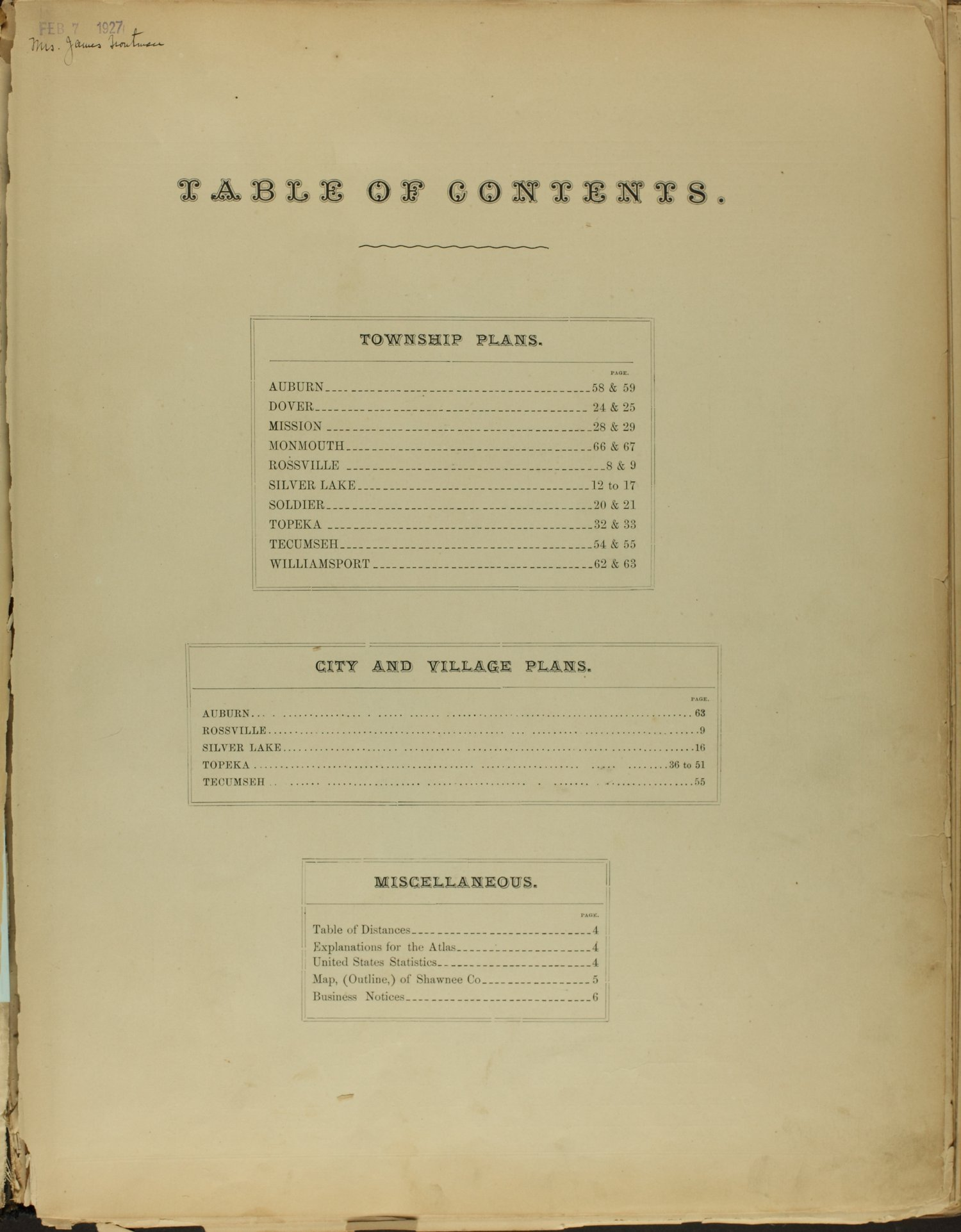 Atlas of Shawnee County, Kansas - Table of Contents