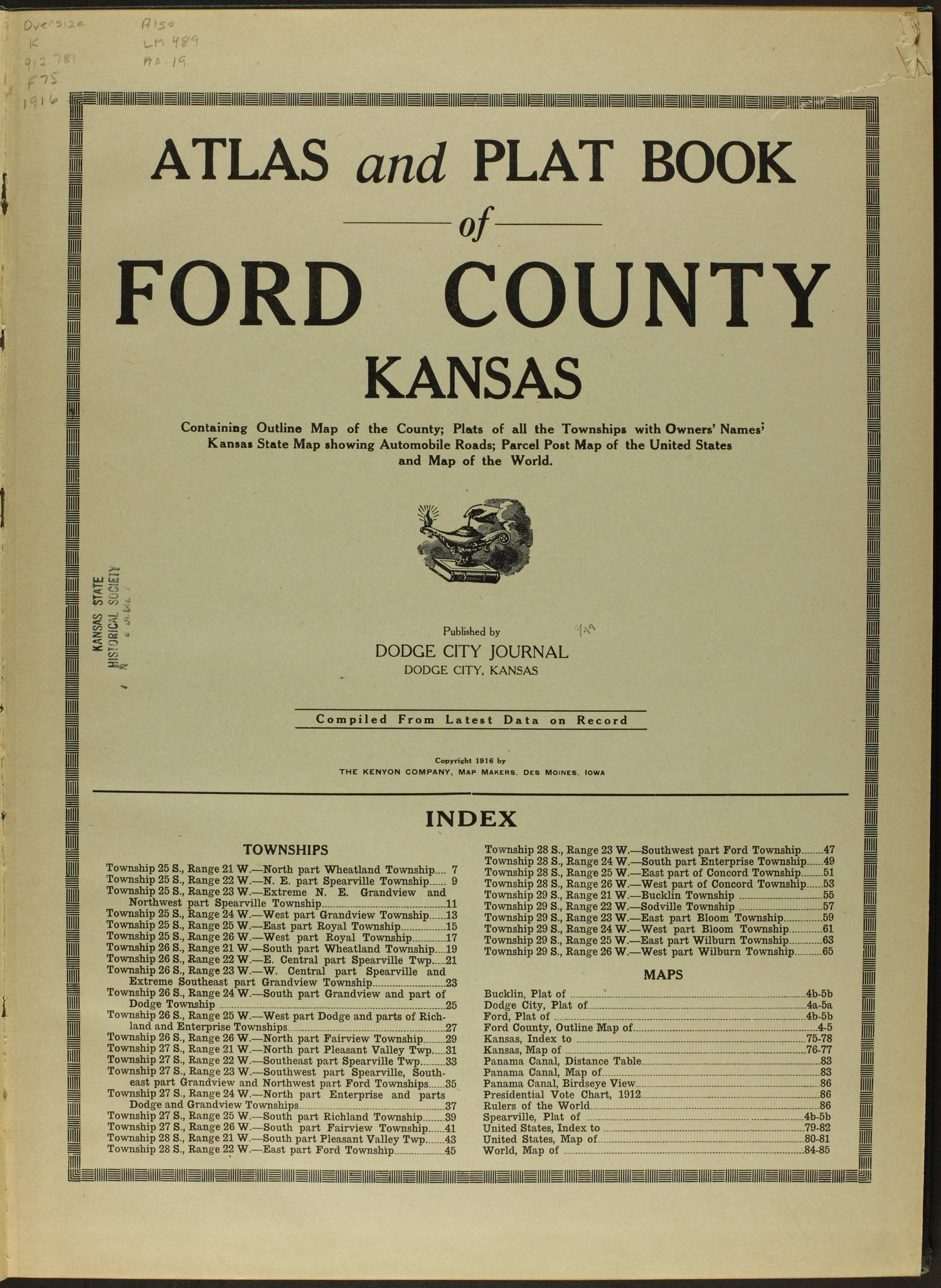 Atlas and plat book of Ford County, Kansas - Title Page