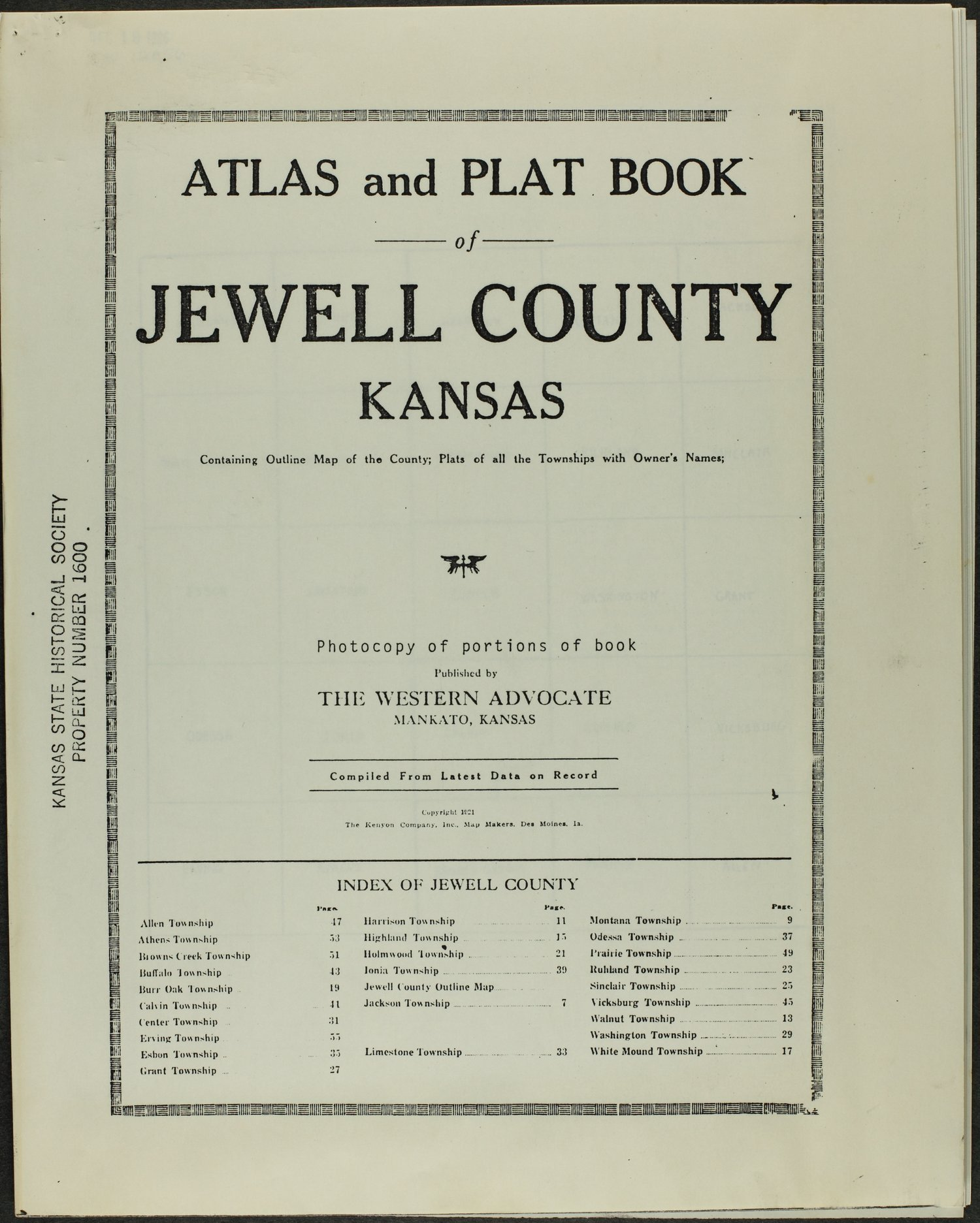 Atlas and plat book of Jewell County, Kansas - Title Page