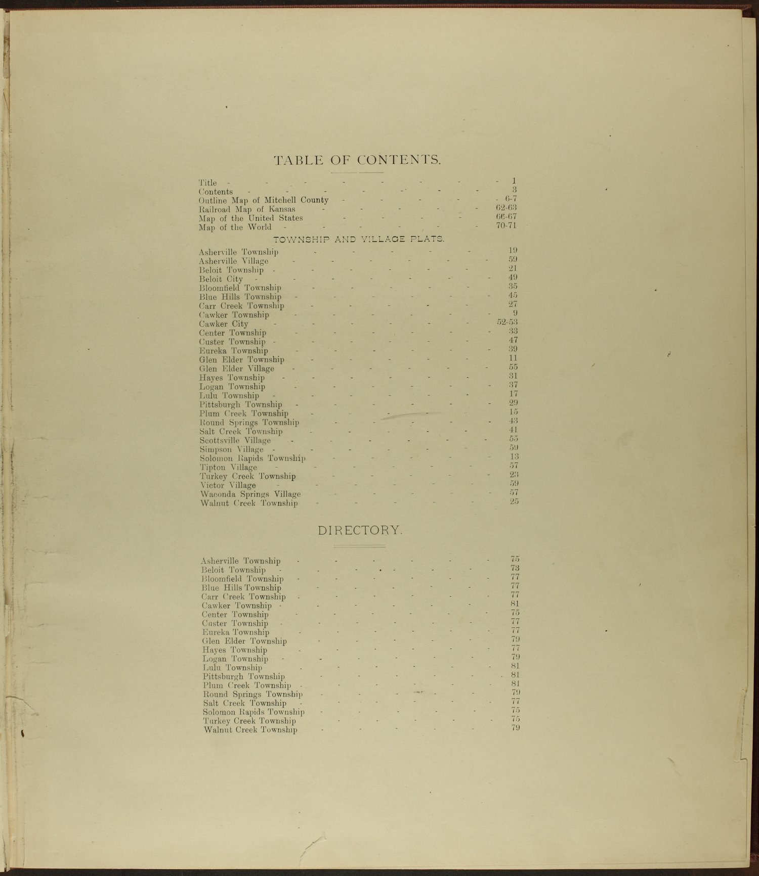 Atlas of Mitchell County, Kansas - Table of Contents