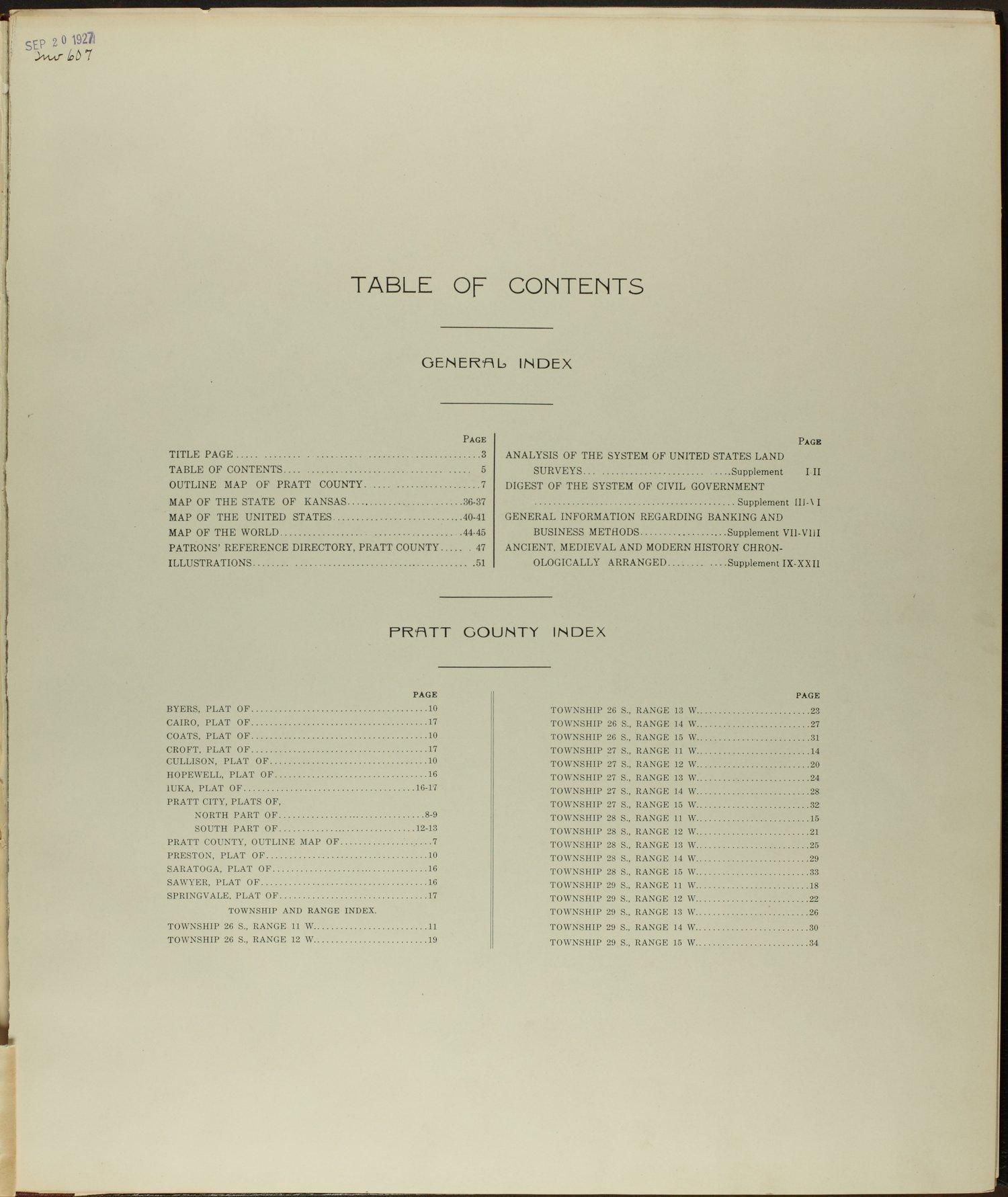 Standard atlas of Pratt County, Kansas - Table of Contents