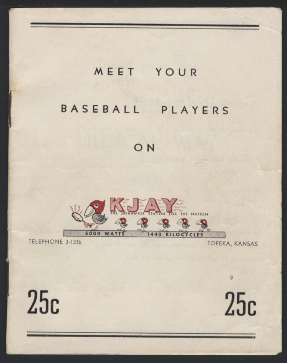 Meet your baseball players on KJAY - Front Cover