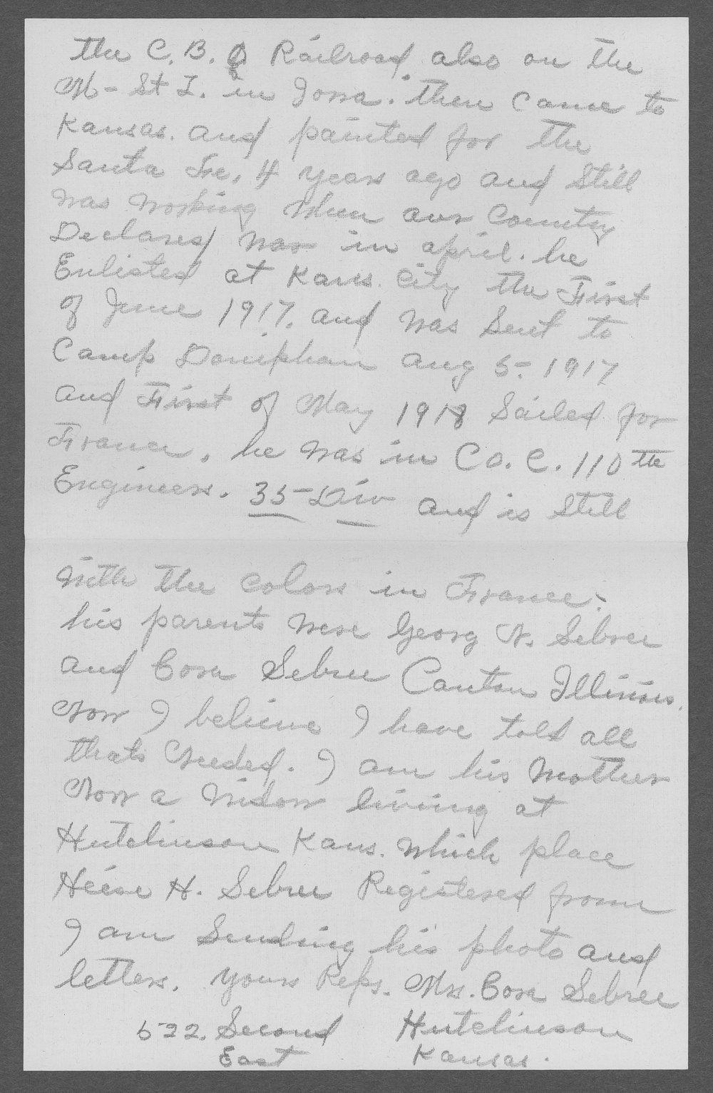 Heise Henry Sebree, World War I soldier - 2