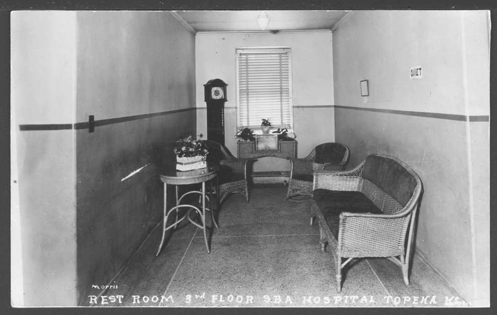 Security Benefit Association farm and hospital complex in Topeka, Kansas - A 'rest room' on the 3rd floor of the S.B.A. hospital (a day room).