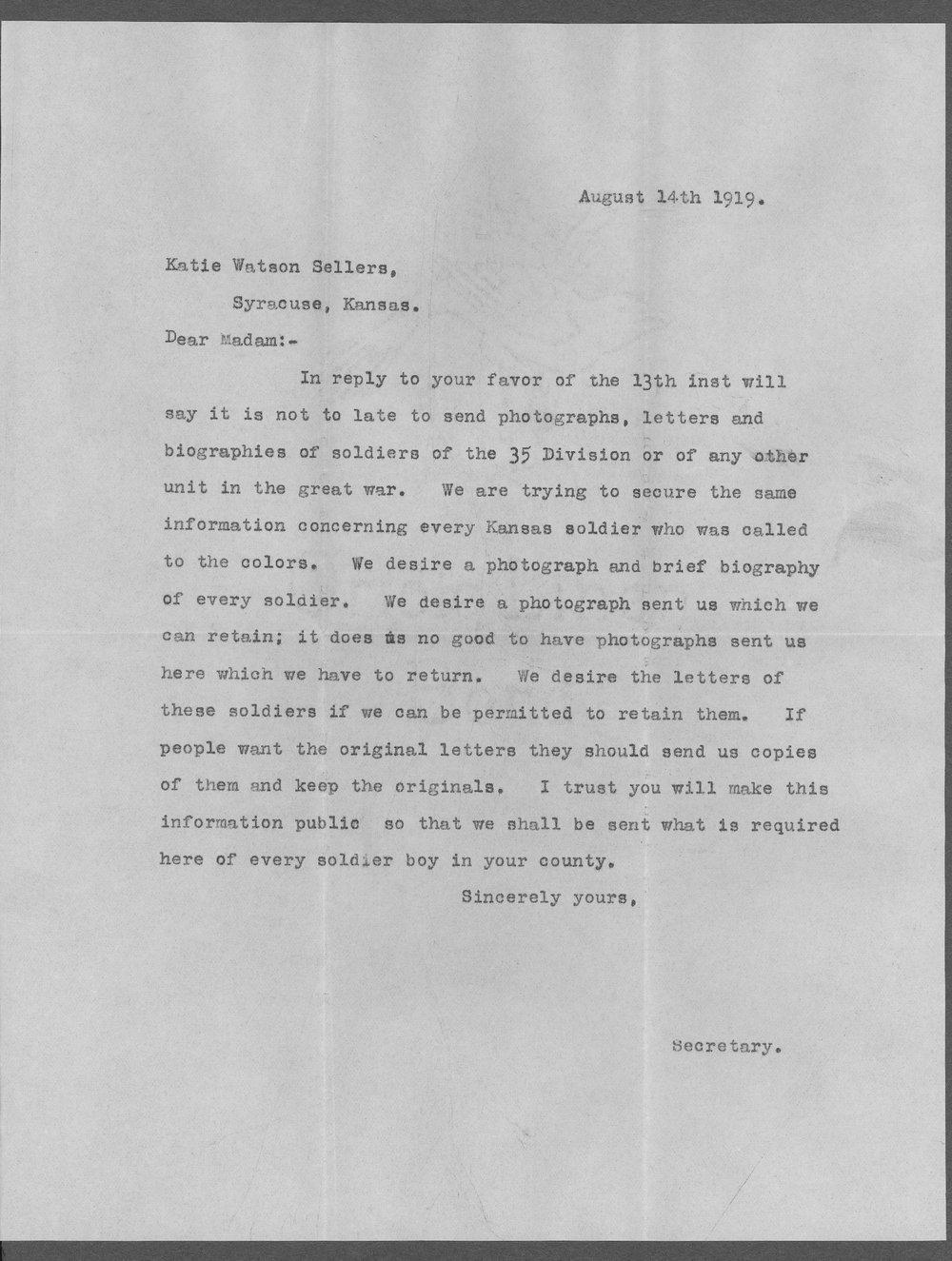 Merle Daniel Sellers, World War I soldier - 2