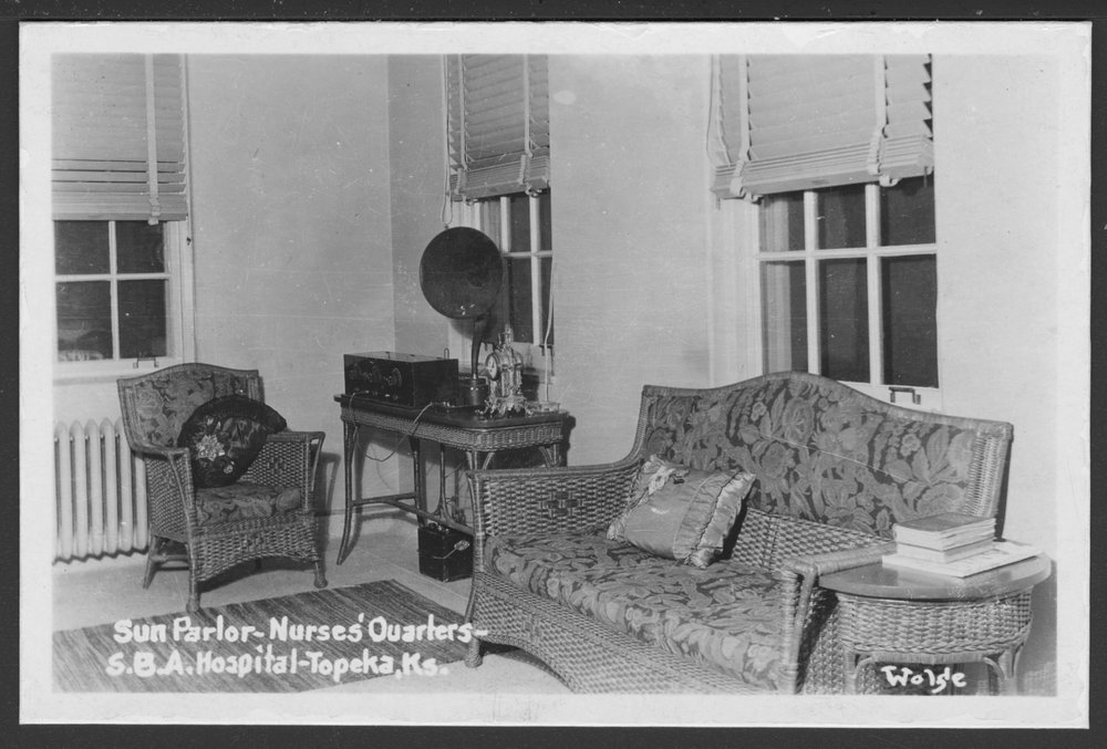 Security Benefit Association farm and hospital complex in Topeka, Kansas - The sun parlor in the nurses' quarters of the SBA hospital.