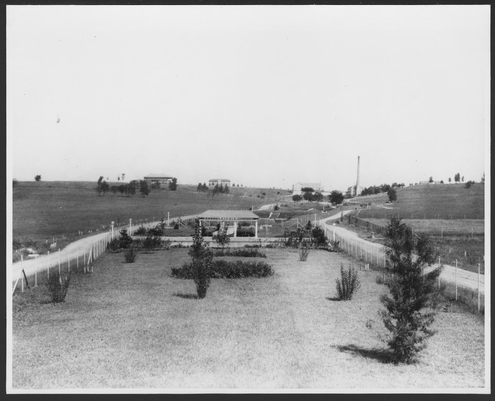 Security Benefit Association farm and hospital complex in Topeka, Kansas - This photograph shows the early landscaping with the SBA  buildings in the background.  The power plant with its tall smoke stack is the most visible.
