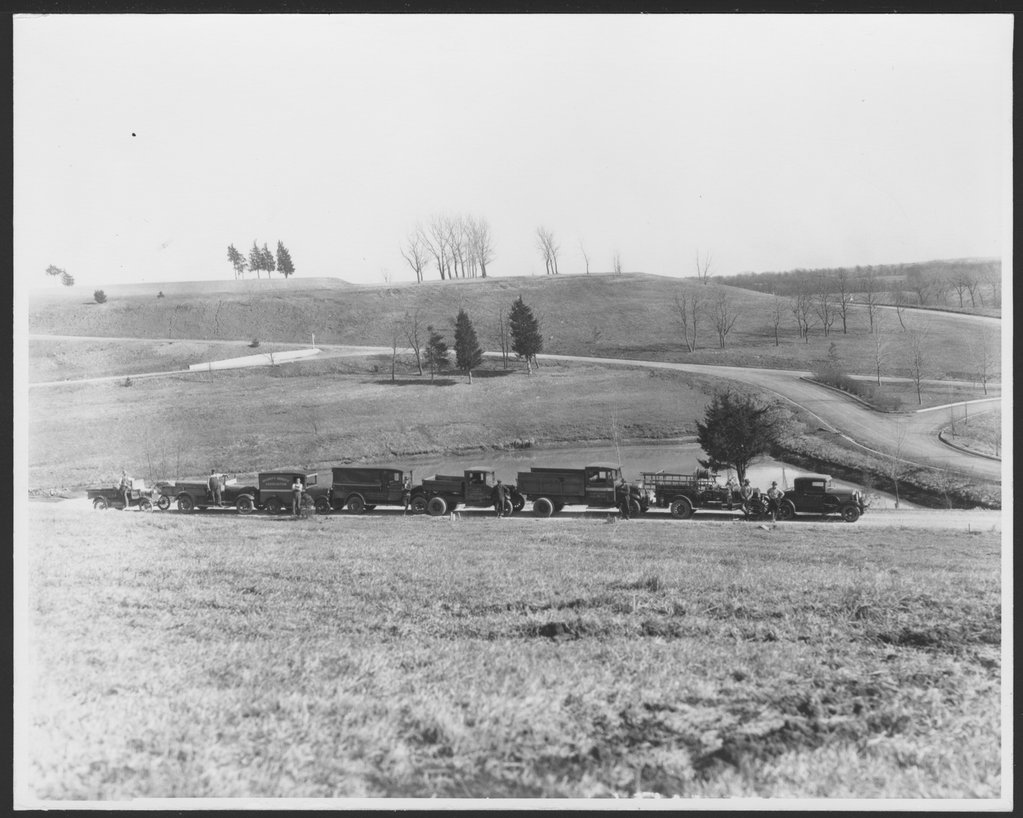 Security Benefit Association farm and hospital complex in Topeka, Kansas - Eight vehicles used by the S.B.A. complex  in 1928. There were farm vehicles and note the fire truck.