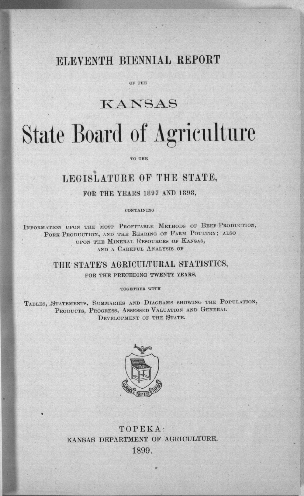 Eleventh biennial report of the Kansas State Board of Agriculture, 1897-98 - Title Page