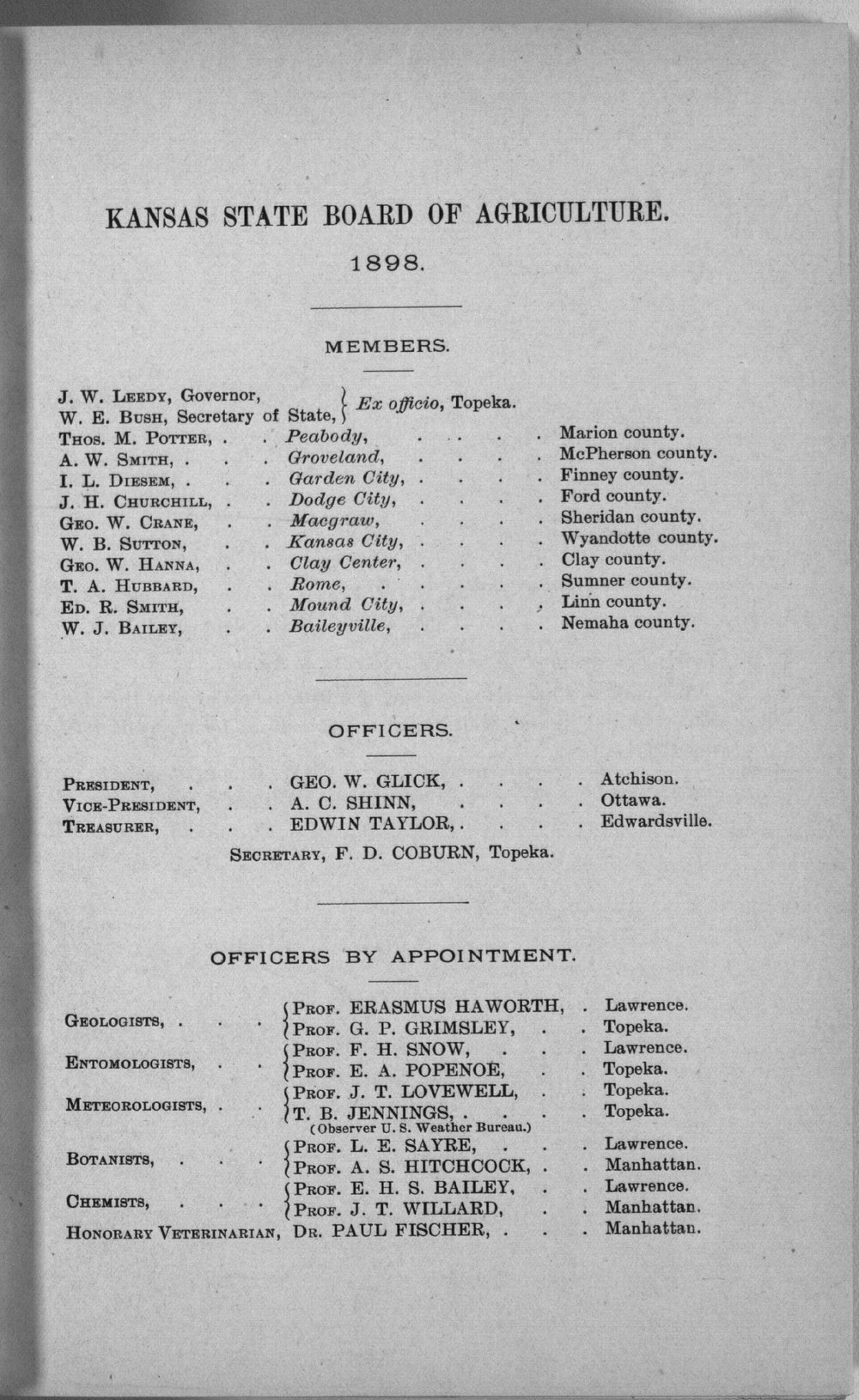 Eleventh biennial report of the Kansas State Board of Agriculture, 1897-98 - Officers and Members