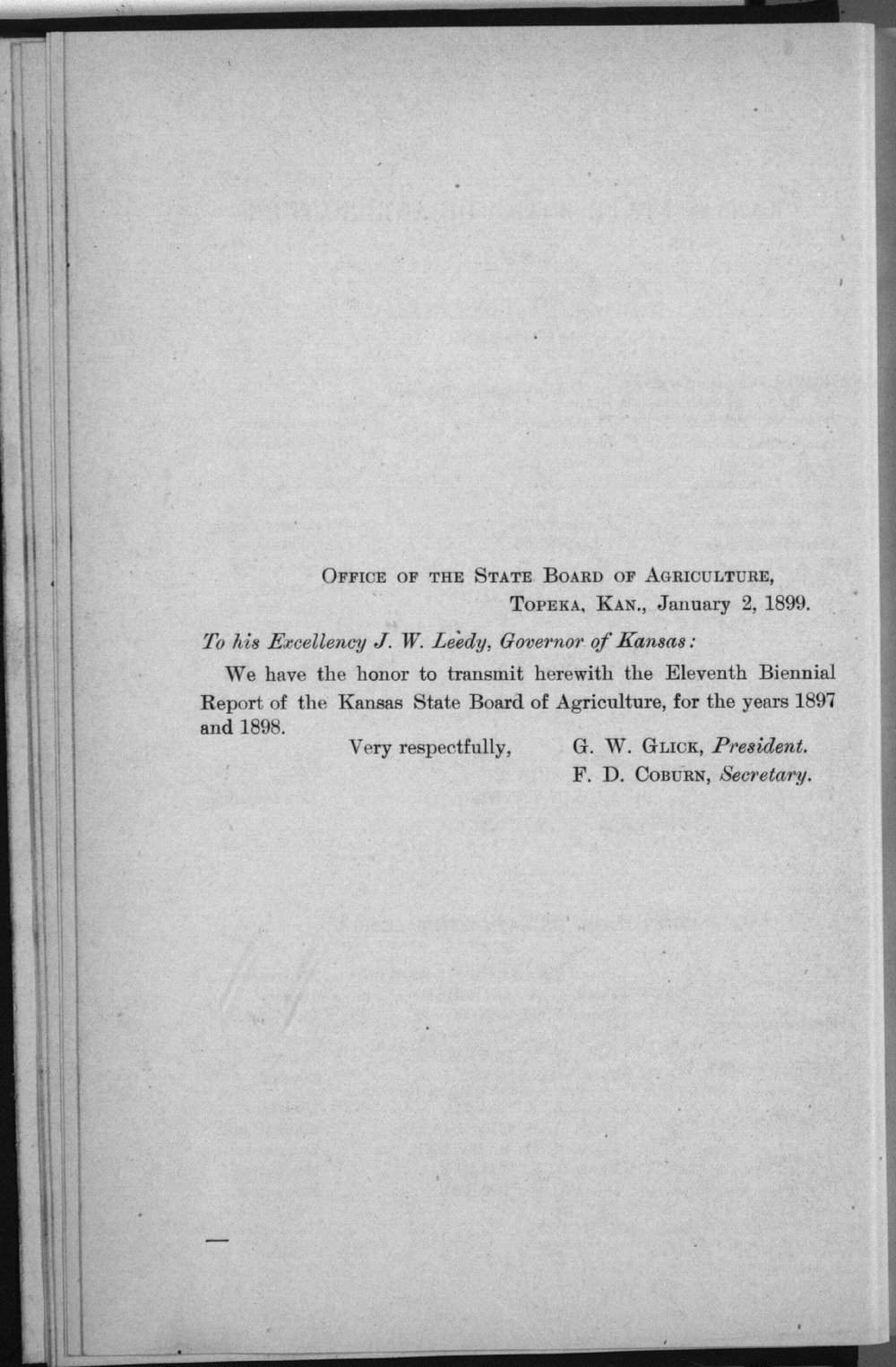 Eleventh biennial report of the Kansas State Board of Agriculture, 1897-98 - Letter of Transmittal