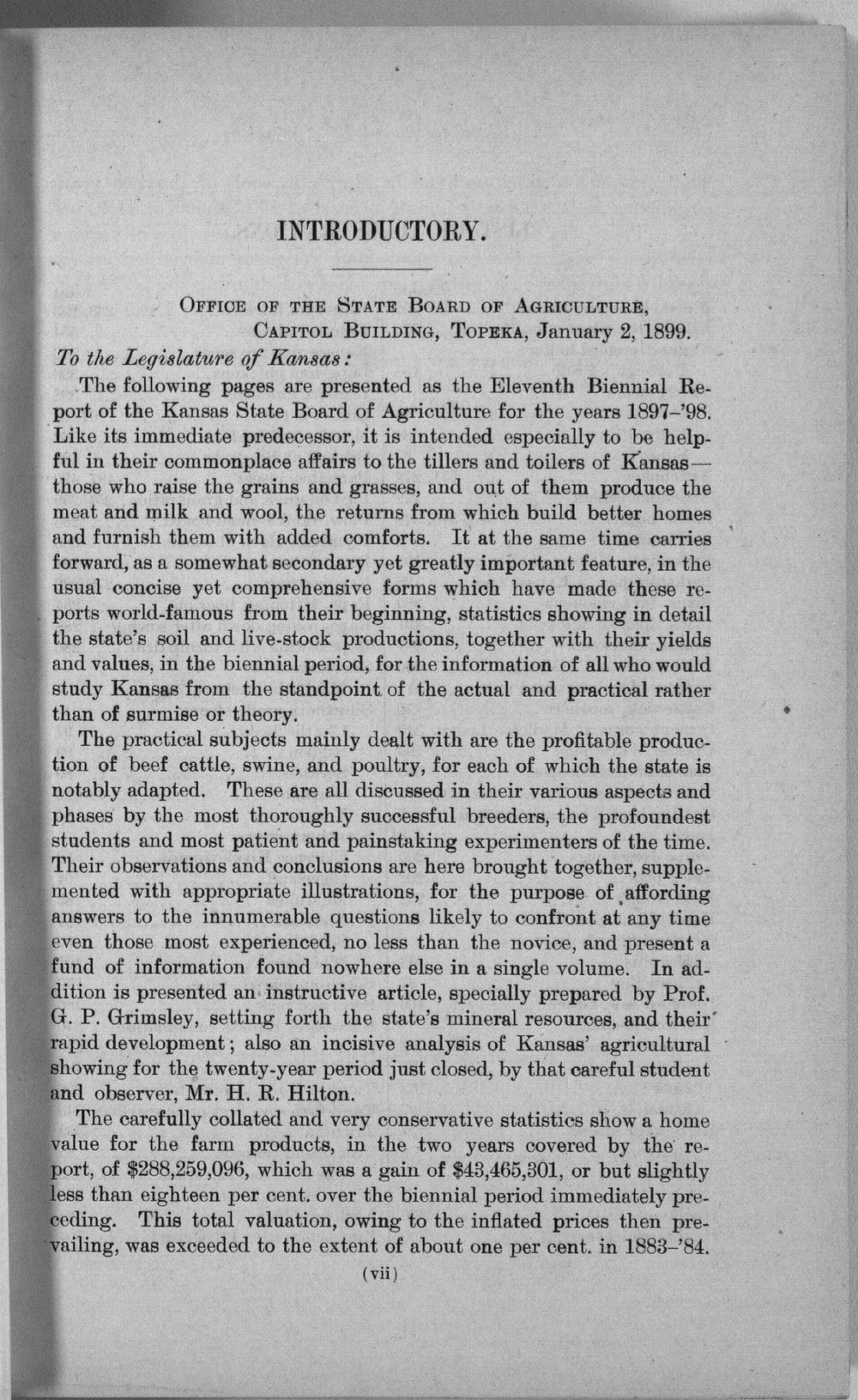 Eleventh biennial report of the Kansas State Board of Agriculture, 1897-98 - Introductory