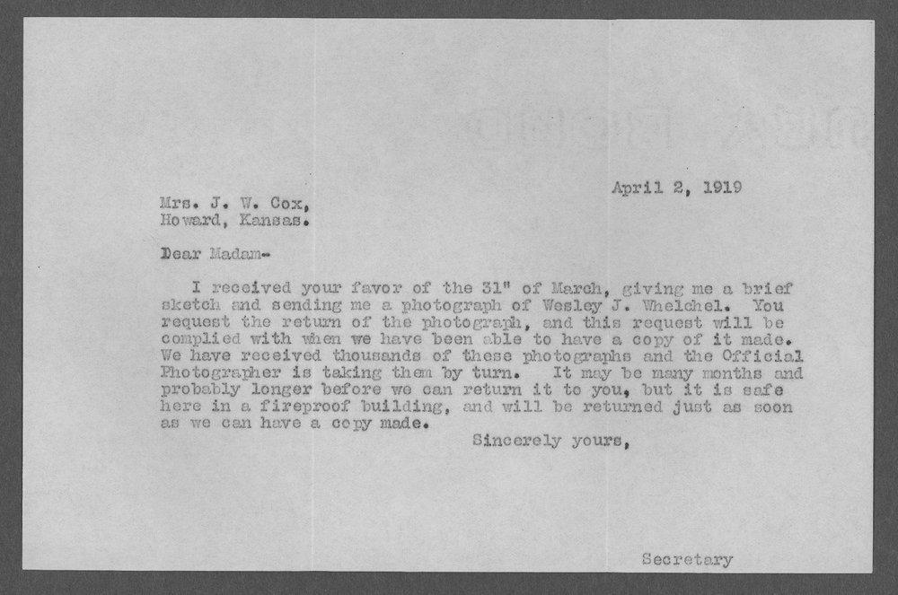Wesley J. Welchel, World War I soldier - 6