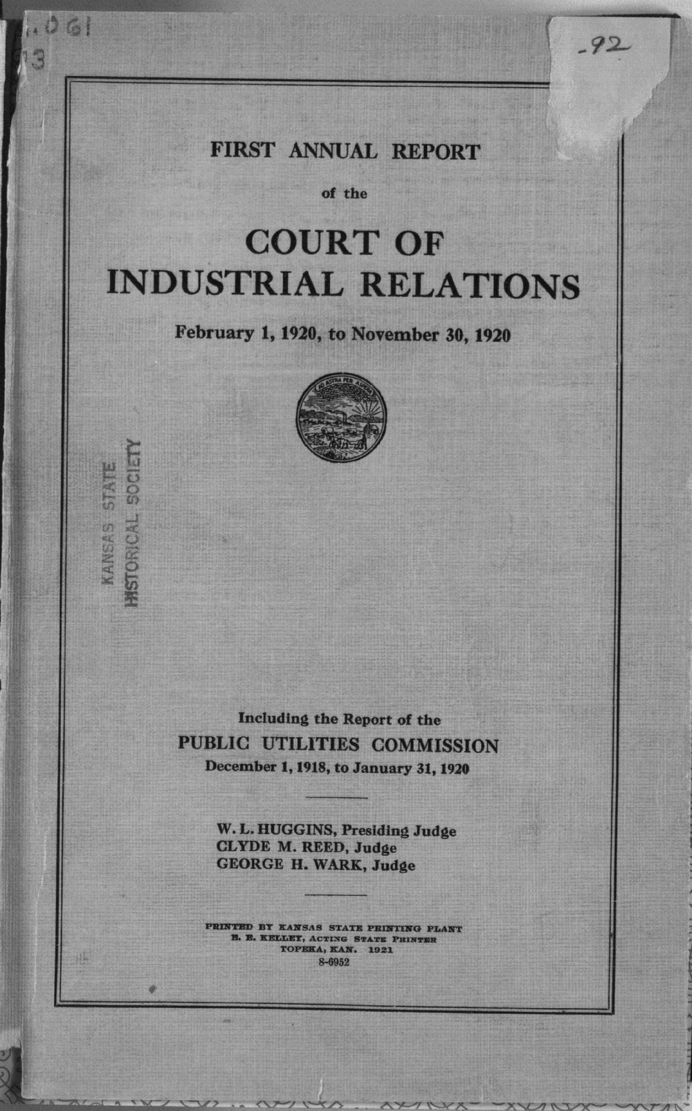 Court of Industrial Relations annual reports - Title Page