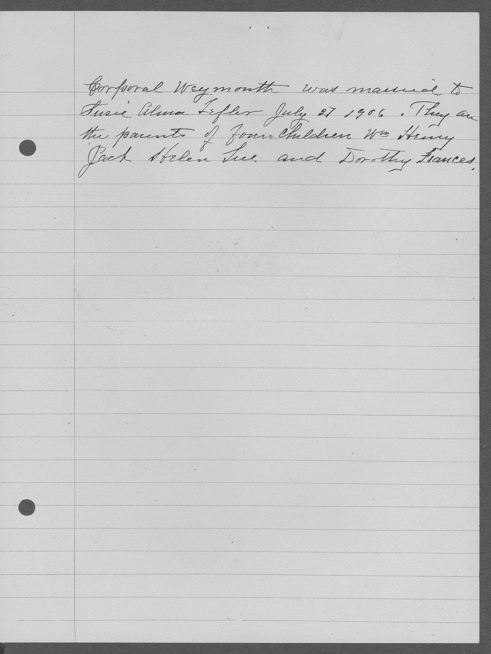 William Henry Weymouth, World War I soldier - 2