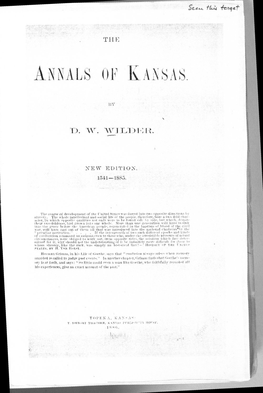 Annals of Kansas - Title Page