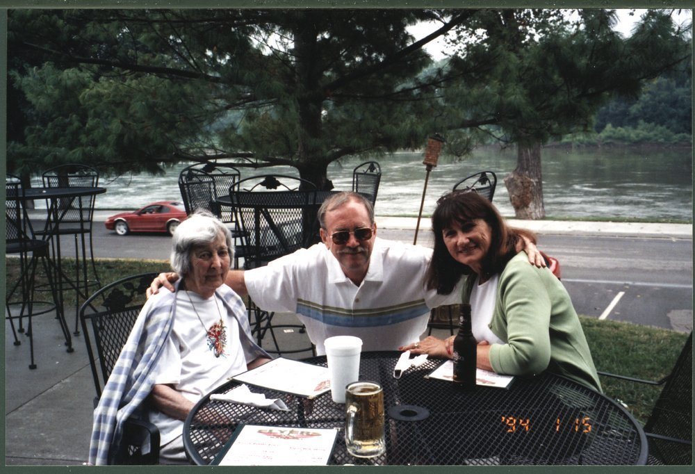 Mary McNerney Lykins, Dan Lykins and Judy Lykins at a restaurant in Atchison, Kansas