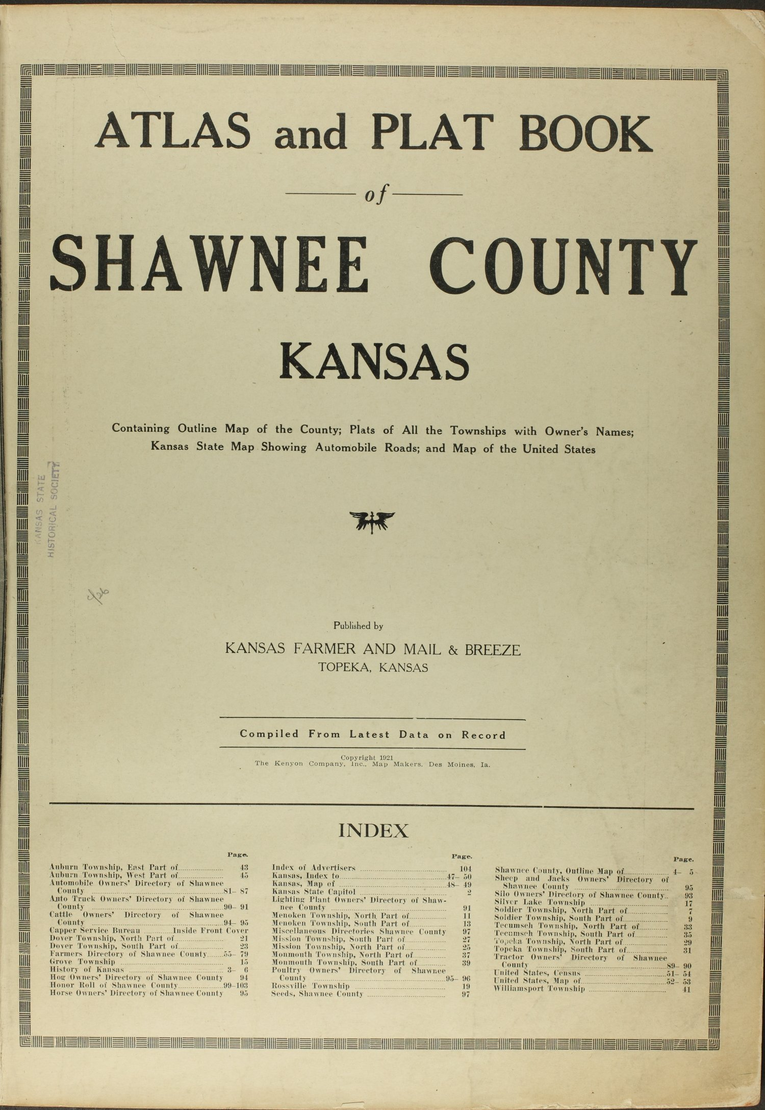 Atlas and plat book of Shawnee County, Kansas - Title Page