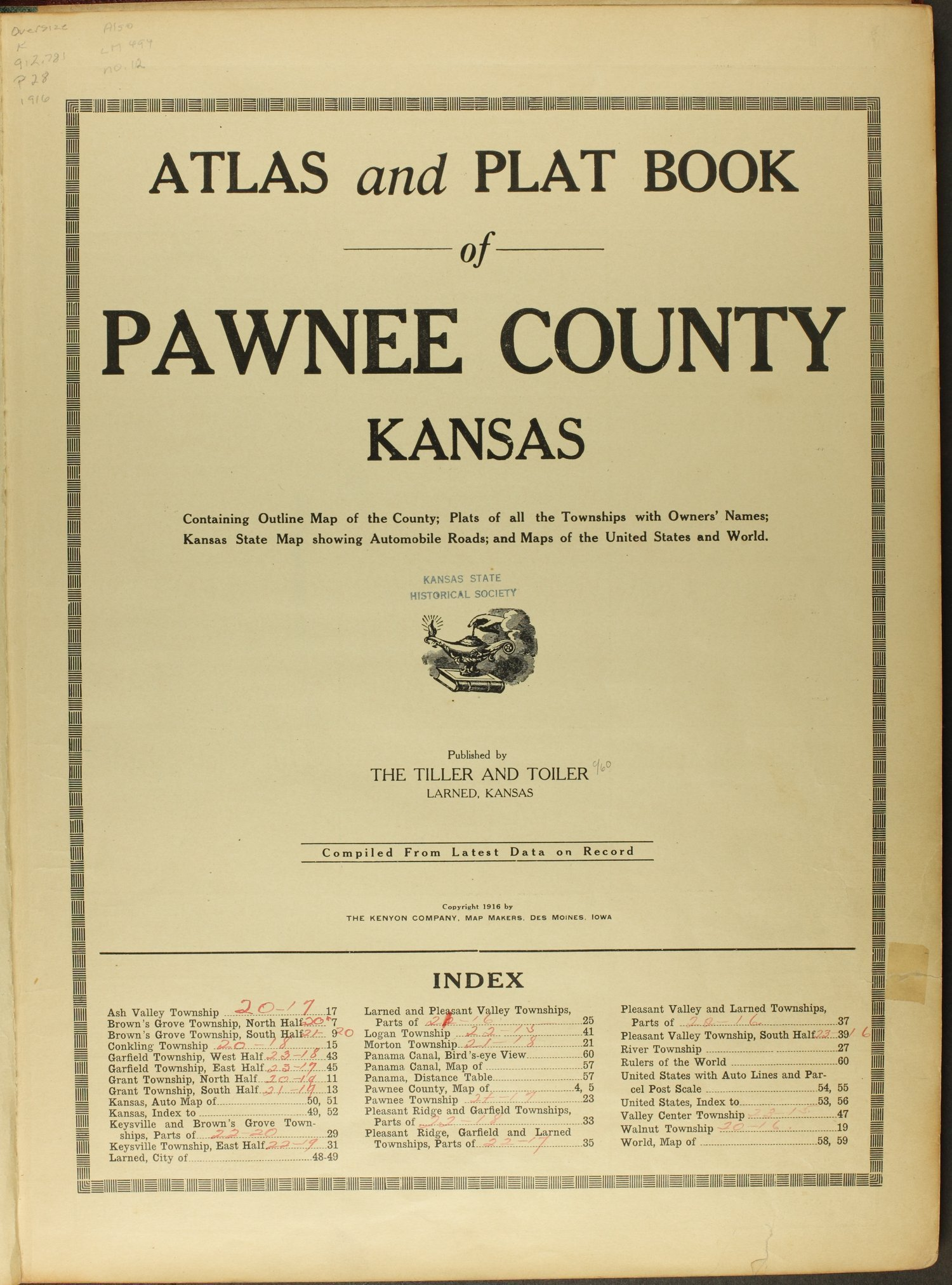 Atlas and plat book of Pawnee County, Kansas - Title Page