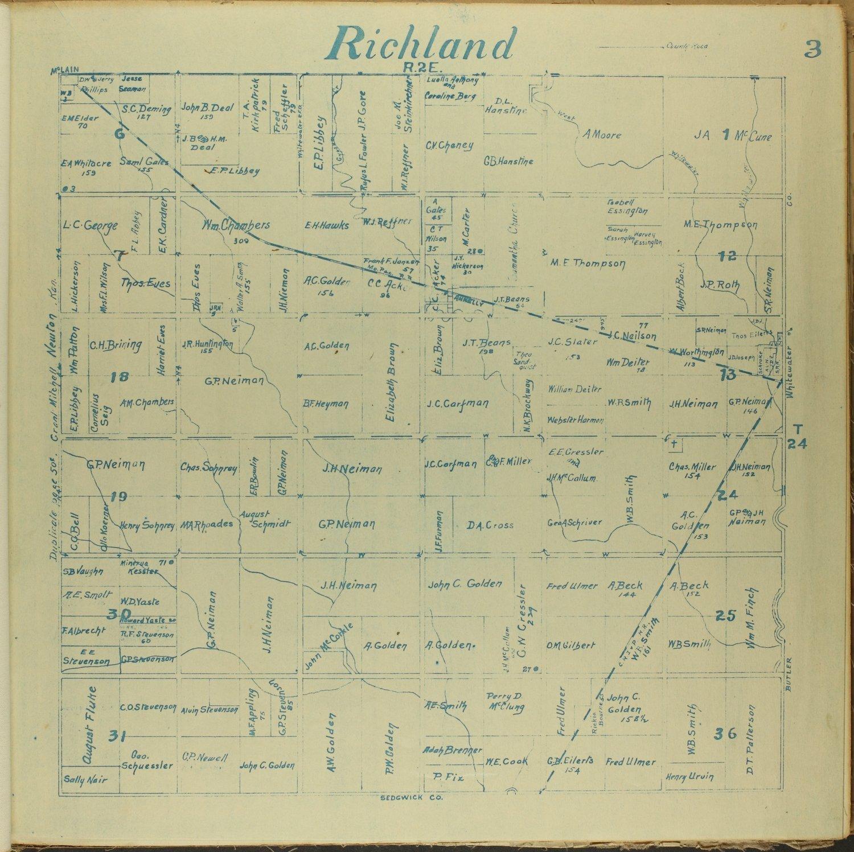 Mitchell map of Harvey County, Kansas - 3